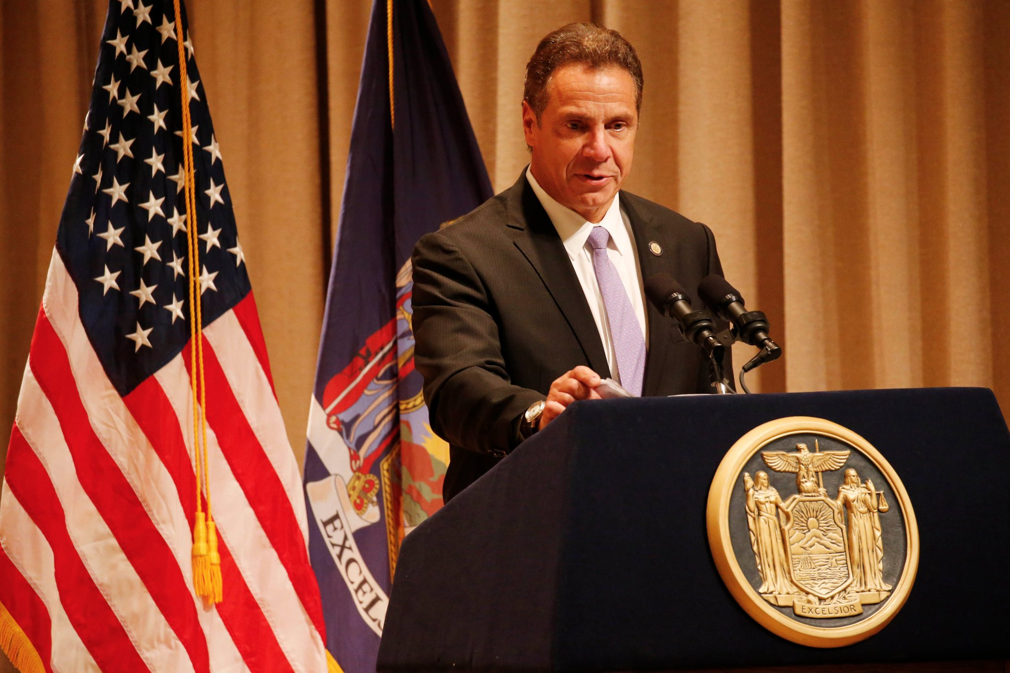 Gov. Andrew M. Cuomo speaks at the Albright-Knox Art Gallery in September. (Derek Gee/Buffalo News)