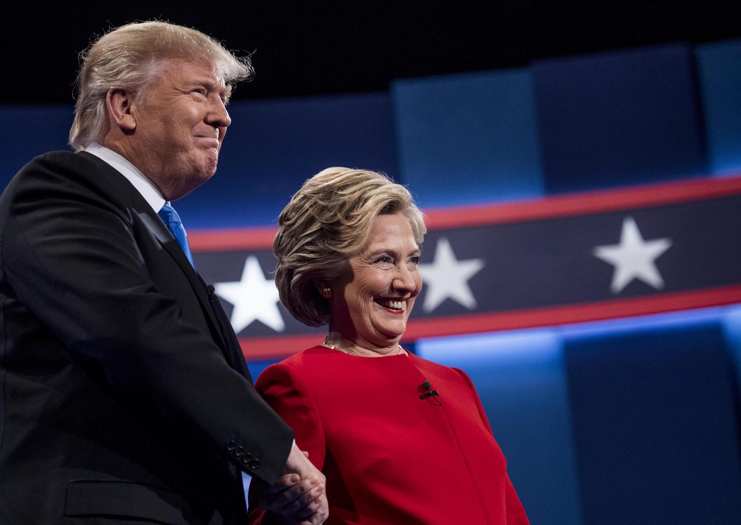 Republican presidential nominee Donald Trump and Democratic presidential nominee Hillary Clinton get ready to debate in Hempstead, New York on Monday. (Melina Mara/ Washington Post)