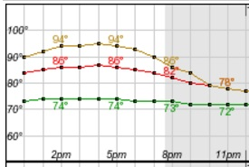 The National Weather Service forecast graph from this morning showed a heat index (gold) at 96 degrees at 3 p.m. today. The expected temperature is reflected in red and the dewpoint is in green. (NWS Buffalo)