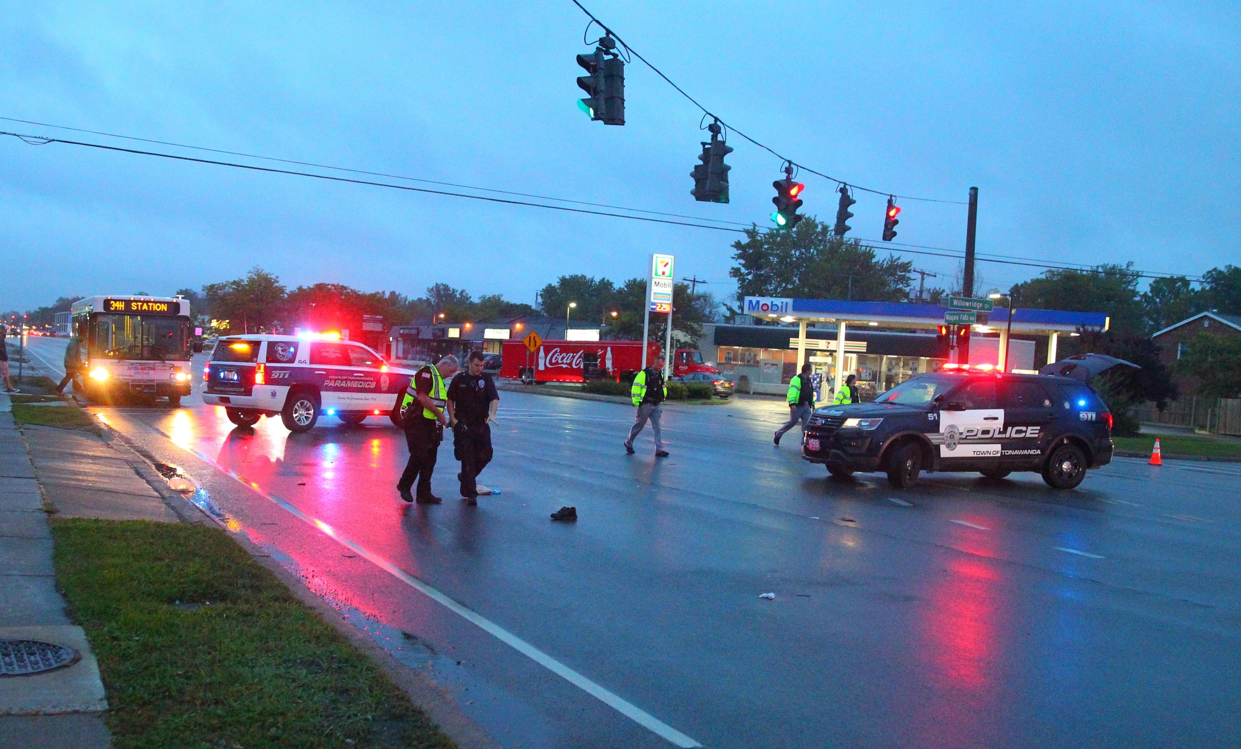 Tonawanda Police on the scene where a pedestrian was hit by a vehicle on Niagara Falls Boulevard at Willow Ridge in the Town of Tonawanda on Thursday, Sept. 29, 2016. (John Hickey/Buffalo News)