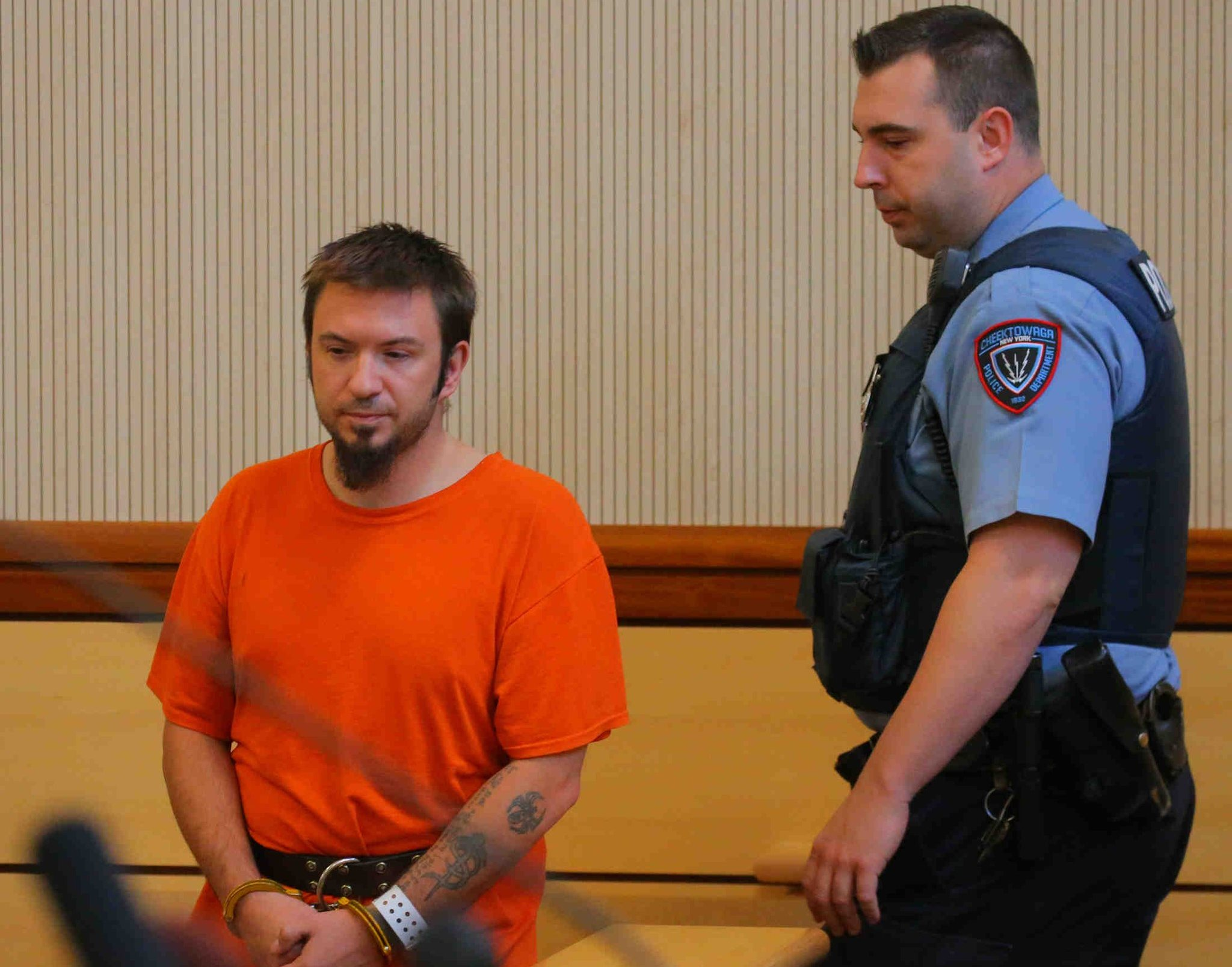 Shane Stevenson, left, arrives in court on Wednesday, Sept. 21, 2016. Stevenson on March 15 pleaded guilty to two counts of second-degree murder for killing Raina M. Voll, 30, and her 7-year-old son Leo C. Klinger on Sept. 13, 2016.  (John Hickey/Buffalo News)