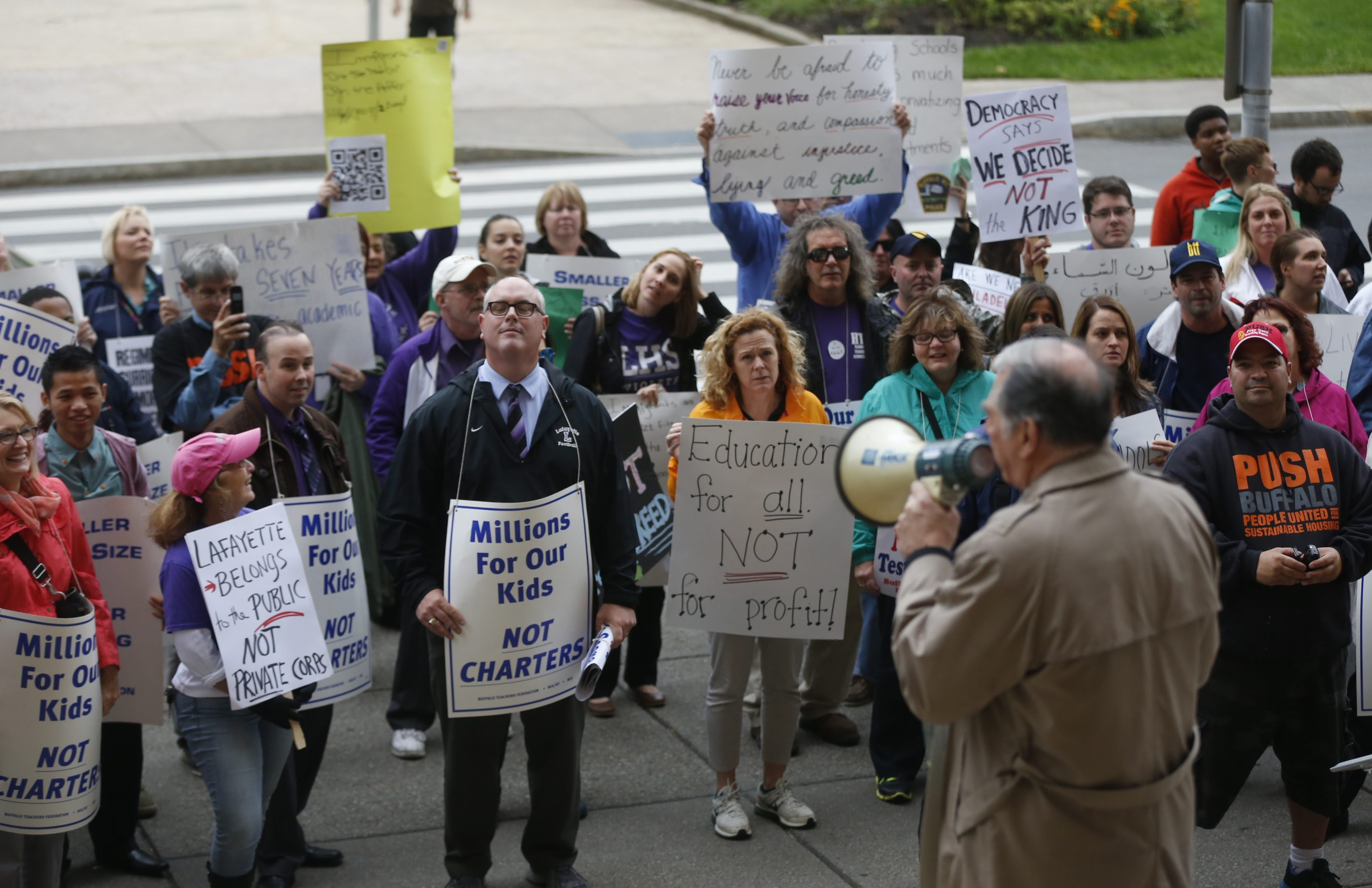 A Buffalo Teachers Federation protest in front of Buffalo City Hall. (News file photo)