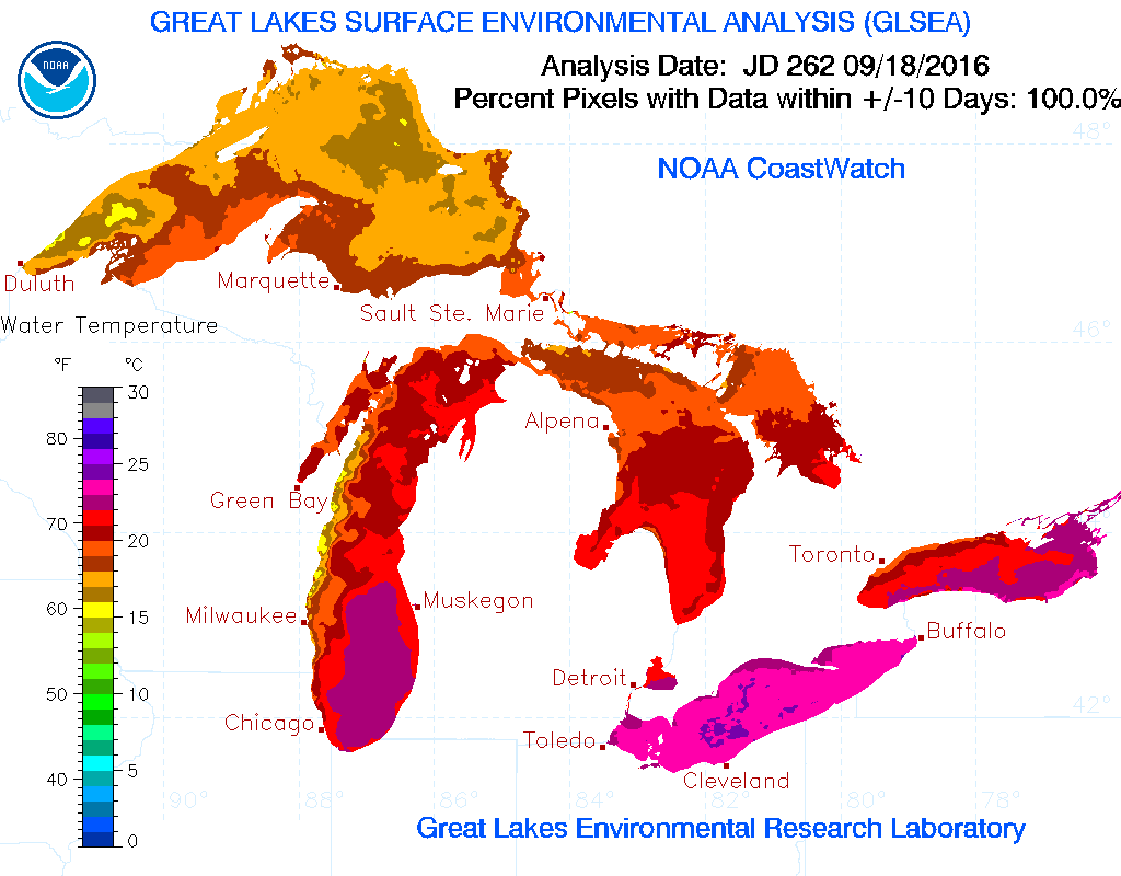 The Great Lakes as a whole are all much warmer than normal for Sept. 19, according to the Great Lakes Environmental Research Laboratory data. (NOAA GLERL)