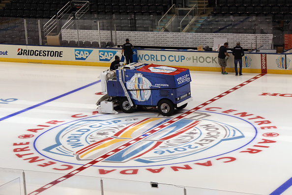 The World Cup of Hockey logo is down on the ice at Toronto's Air Canada Centre, where the tournament opens Saturday (Getty Images).