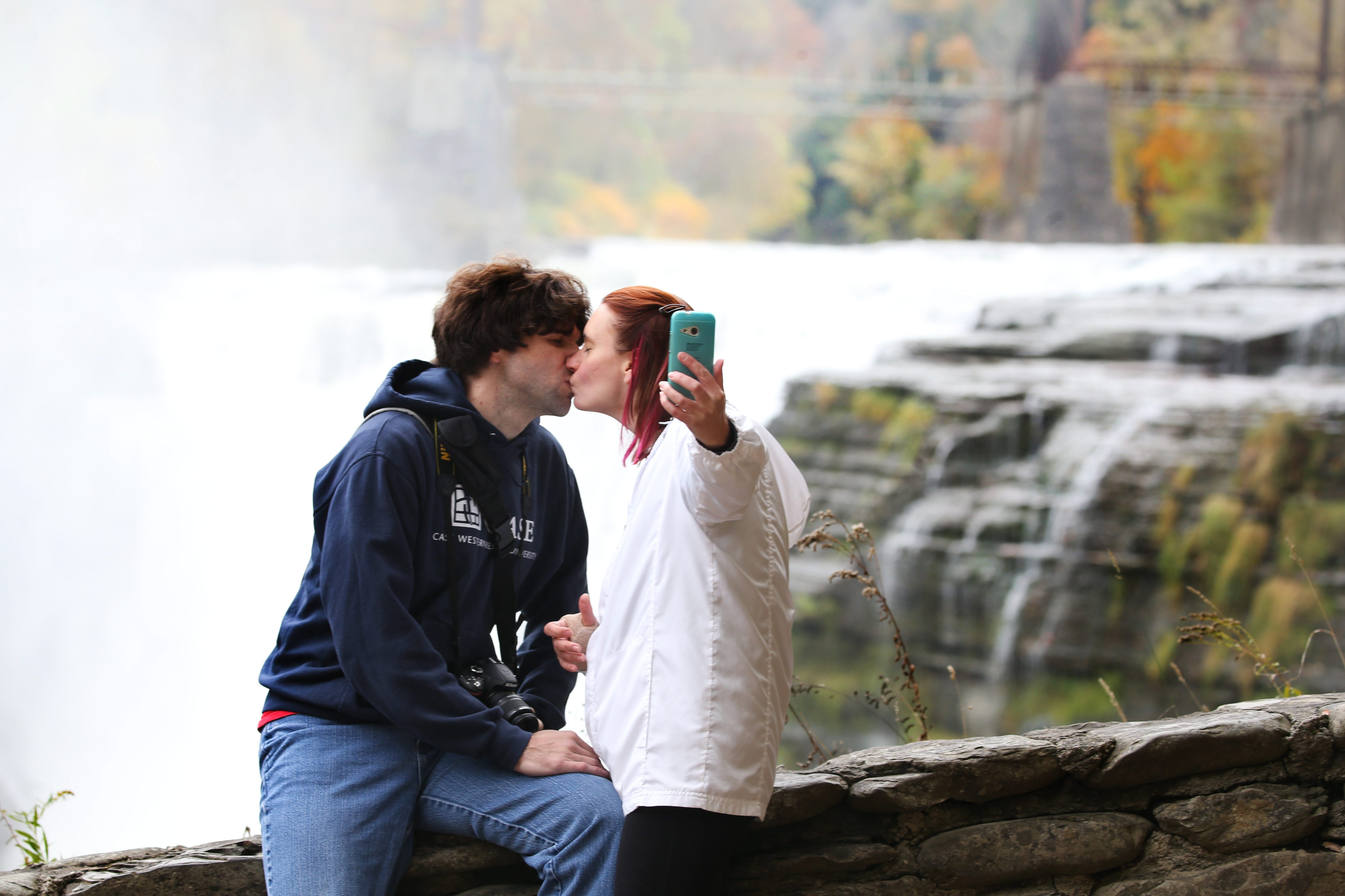 October is the most popular time of the year for Letchworth State Park. Tourists come to see the magnificence of the changing leaves in this majestic setting. Here, Chris and Angel English of Williamson take a selfie on their anniversary in front of the upper falls. (Sharon Cantillon/Buffalo News)