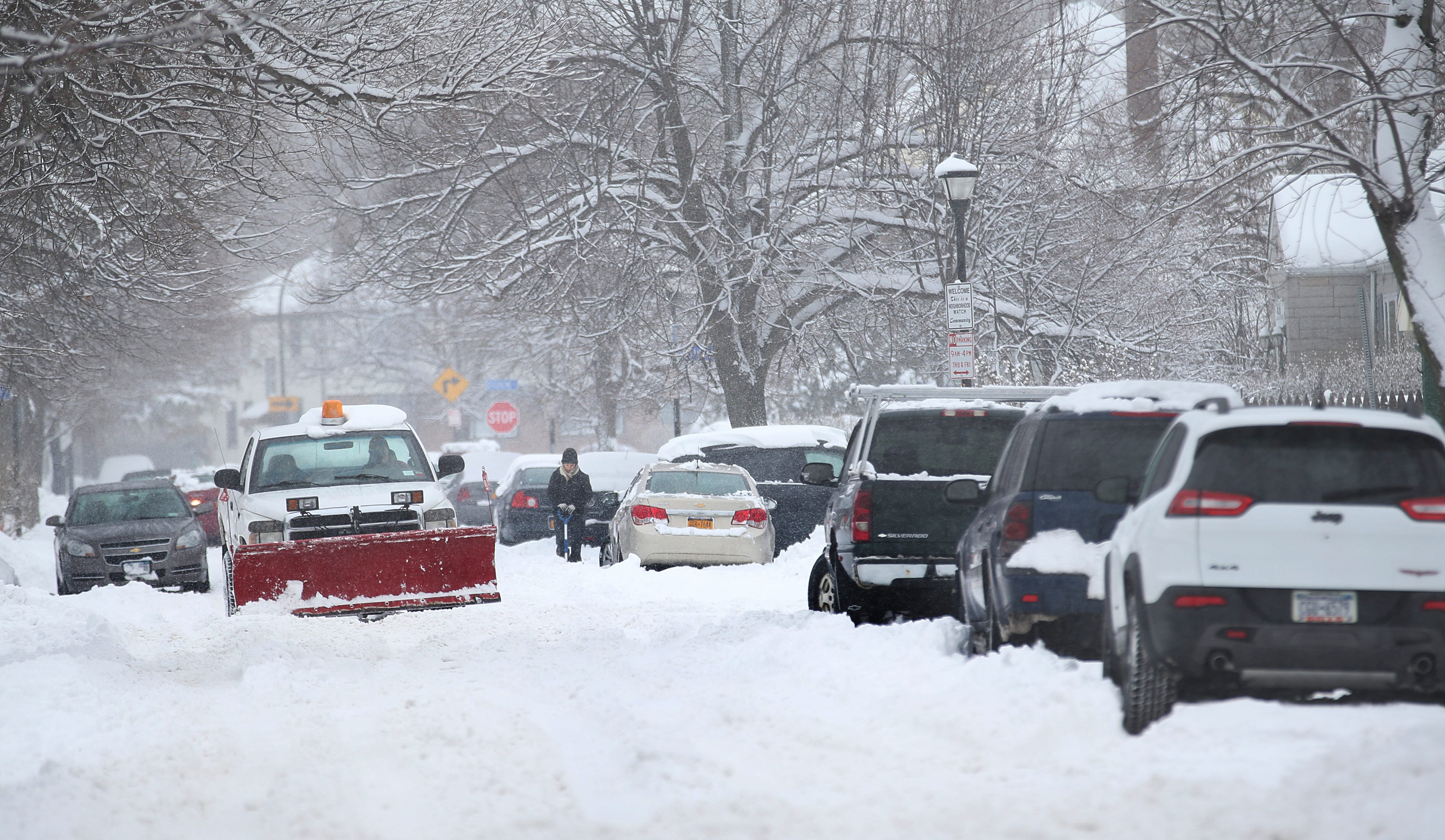 Western New York's streets don't look like this yet, but overnight parking bans in several towns go into effect Tuesday. (Sharon Cantillon/Buffalo News file photo)