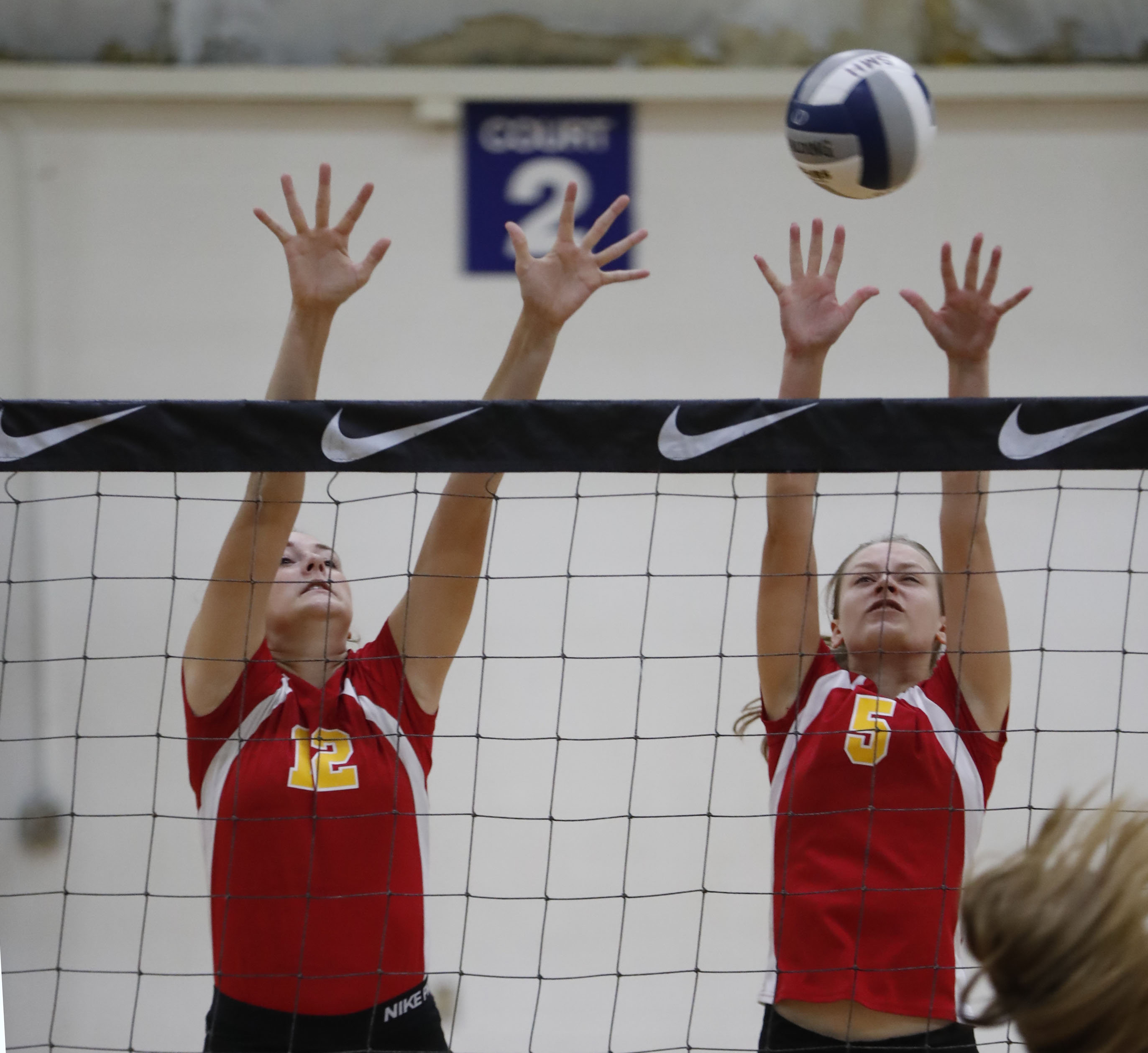 Leah Orsini and Megan Wiese are a part of the new No. 1 large school Williamsvlle East girls volleyball team. (Harry Scull Jr./Buffalo News)