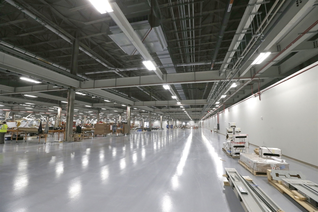 The SolarCity factory under construction at RiverBend. (Robert Kirkham/Buffalo News file photo)