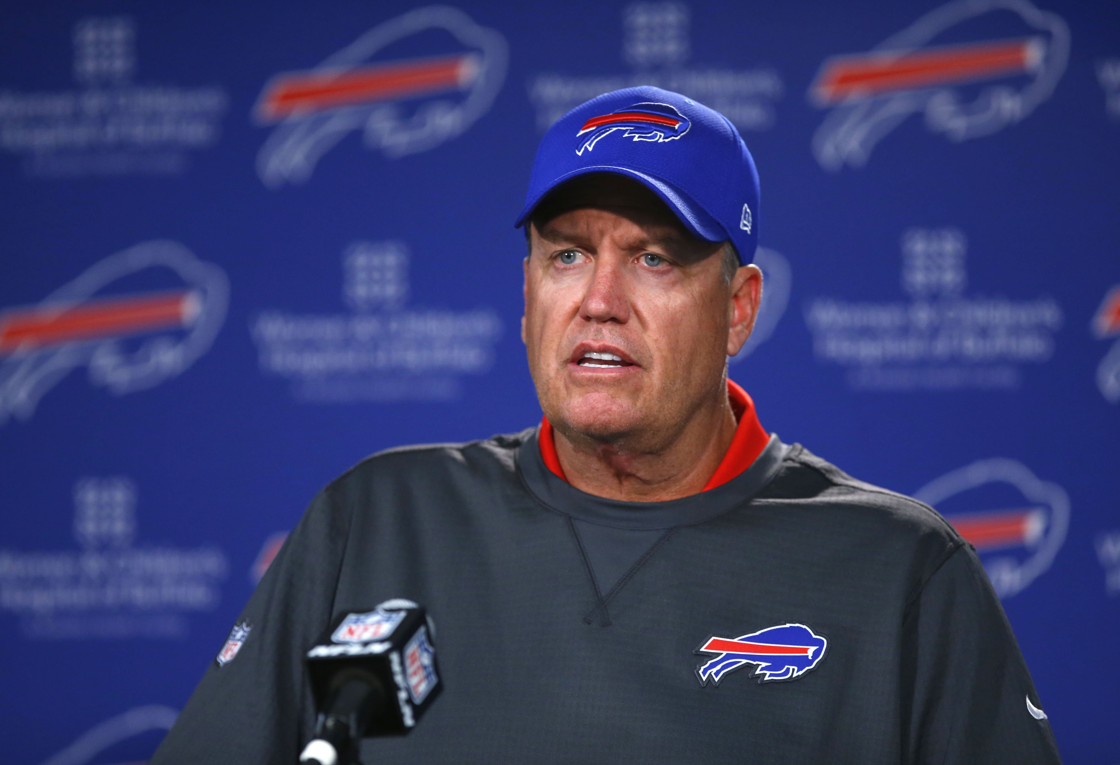 DirecTV subscribers have a wait before seeing Rex Ryan and Buother local sports-themed shows. (Harry Scull Jr./Buffalo News)