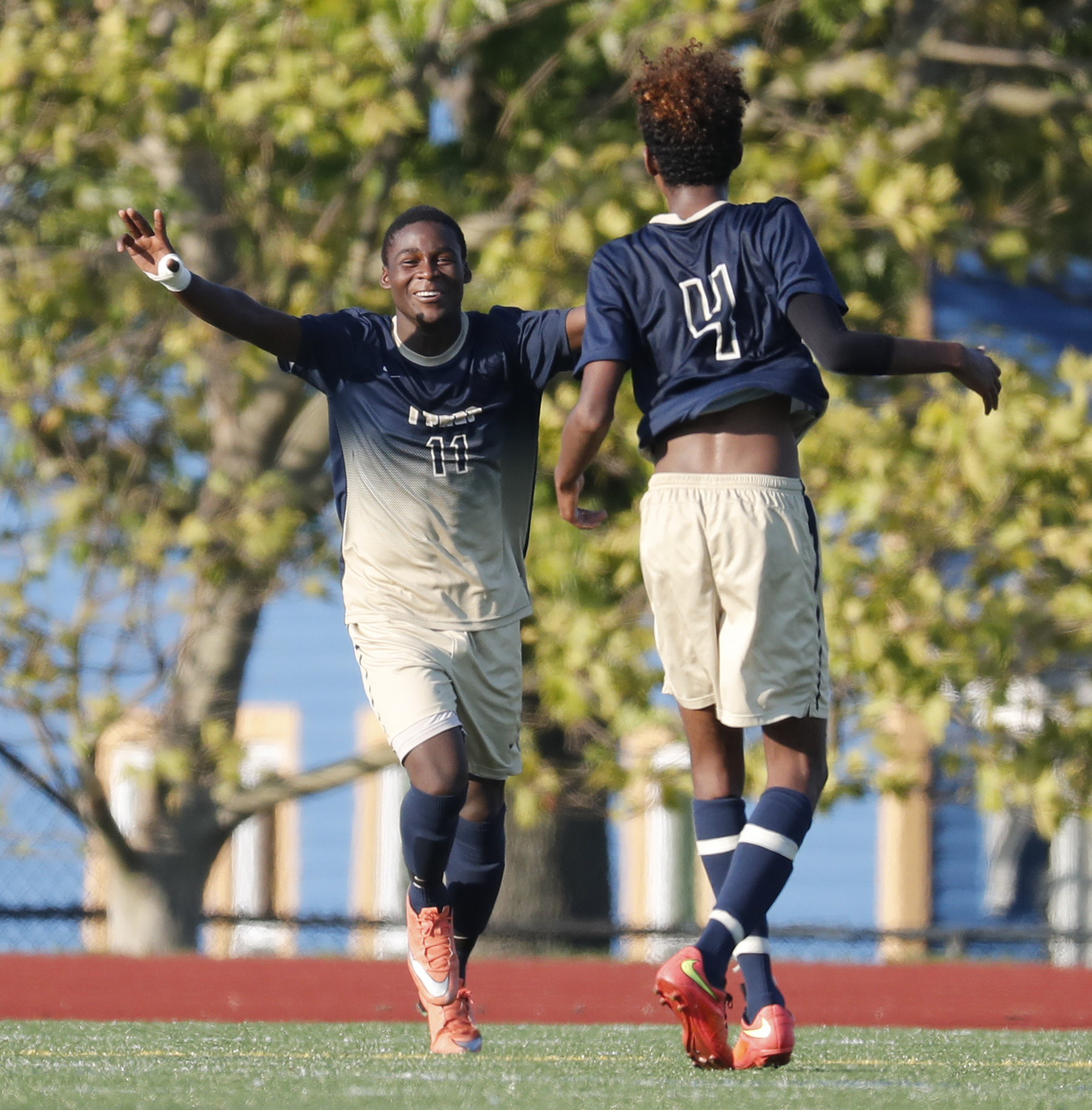 I-Prep's Abdullahi Hussein celebrates his third goal of the game against Lafayette in a September match. I-Prep, Lafaytette and McKinley are are still alive in the Section VI soccer playoffs.