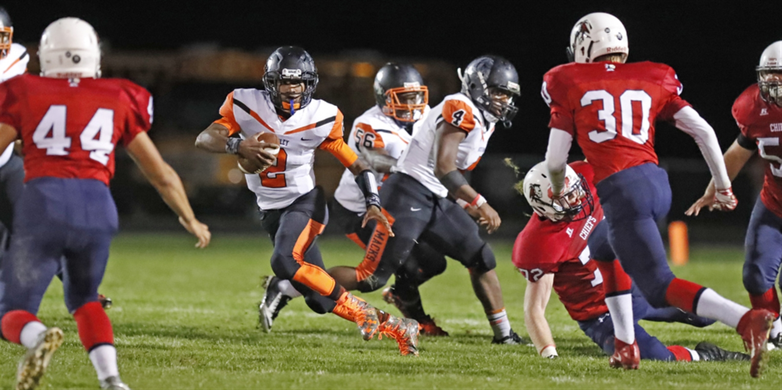 Mckinley's Taelon Hollamon runs against Iroquois during its 20-15 win over the Chiefs on Sept. 23. (Harry Scull Jr./Buffalo News)