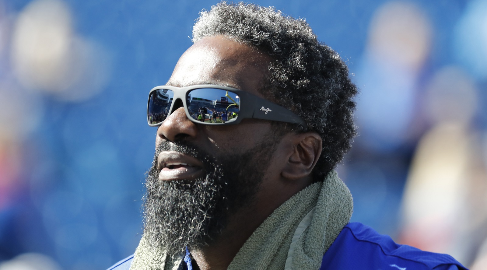 Buffalo Bills assistant coach Ed Reed during pre-game against the Arizona Cardinals. (Harry Scull Jr./Buffalo News file photo)