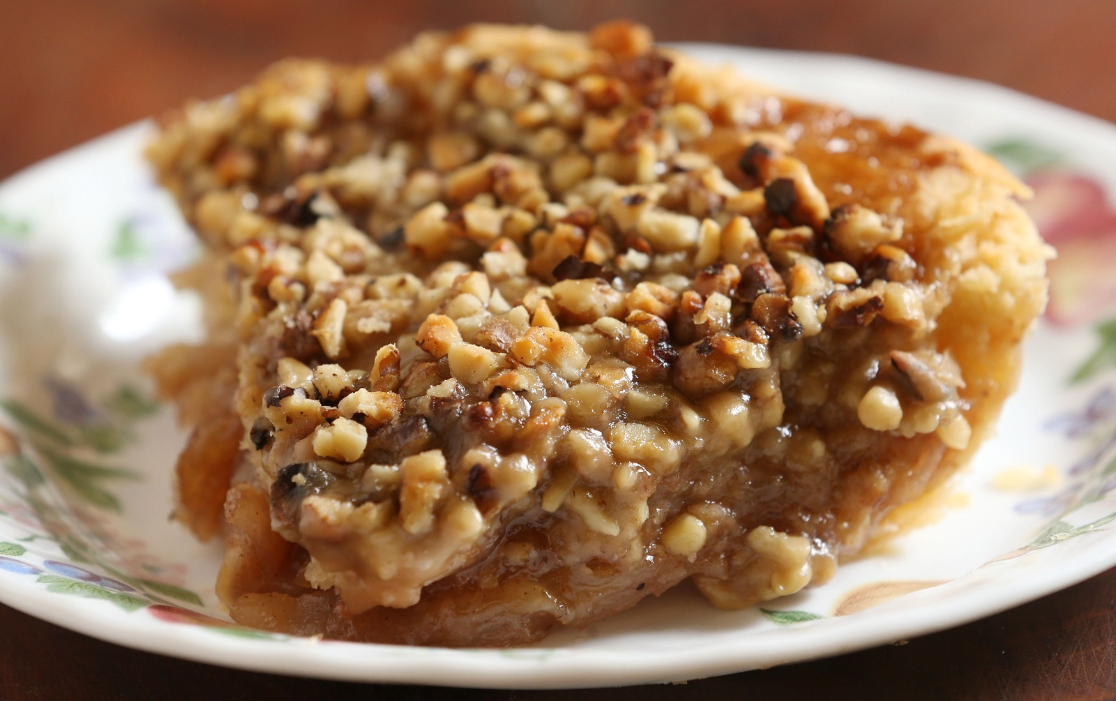 Caramel-walnut apple pie from Hall's Apple Farm. (Sharon Cantillon/Buffalo News)