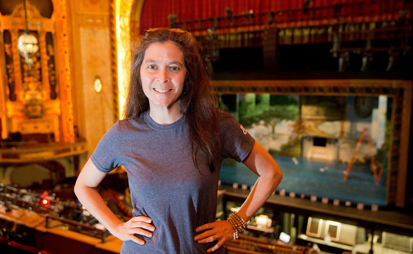 """Finding Neverland"" director Diane Paulus at work in Shea's Performing Arts Center. (John Hickey/Buffalo News)"