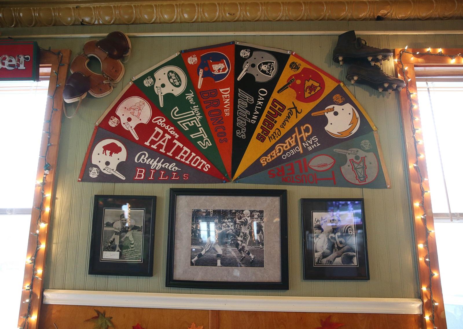 The walls at Marinaro's Larkin Tavern are filled with sports memorabilia.   (Sharon Cantillon/Buffalo News)