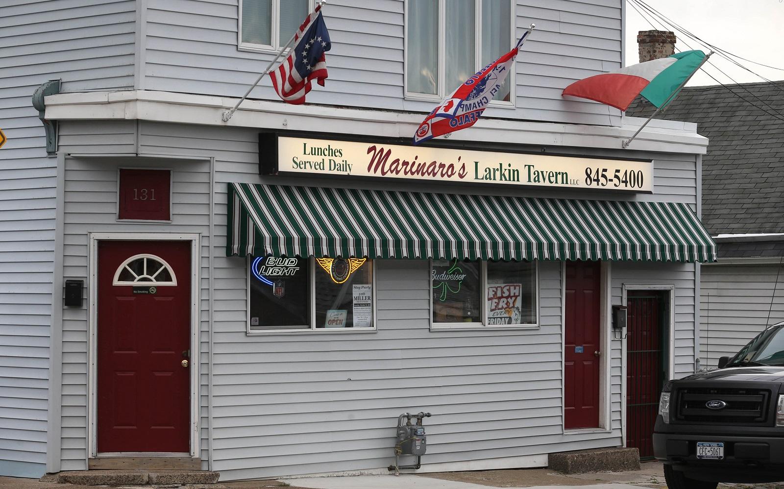 The walls at Marinaro's Larkin Tavern at 131 Van Rensselaer St. (Sharon Cantillon/Buffalo News)