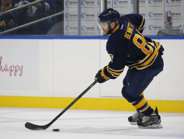 Buffalo's Mac Bennett (81) looks to pass in NHL action at KeyBank Center on Friday, Sept. 30, 2016. (Robert Kirkham/Buffalo News)