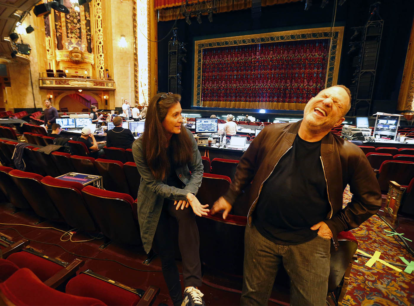 "Director Diane Paulus and producer Harvey Weinstein talk before the start of the rehearsal Thursday, Oct. 6, 2016, of ""Finding Neverland,"" a musical he produced and which is launching its national tour. (Mark Mulville/The Buffalo News)"