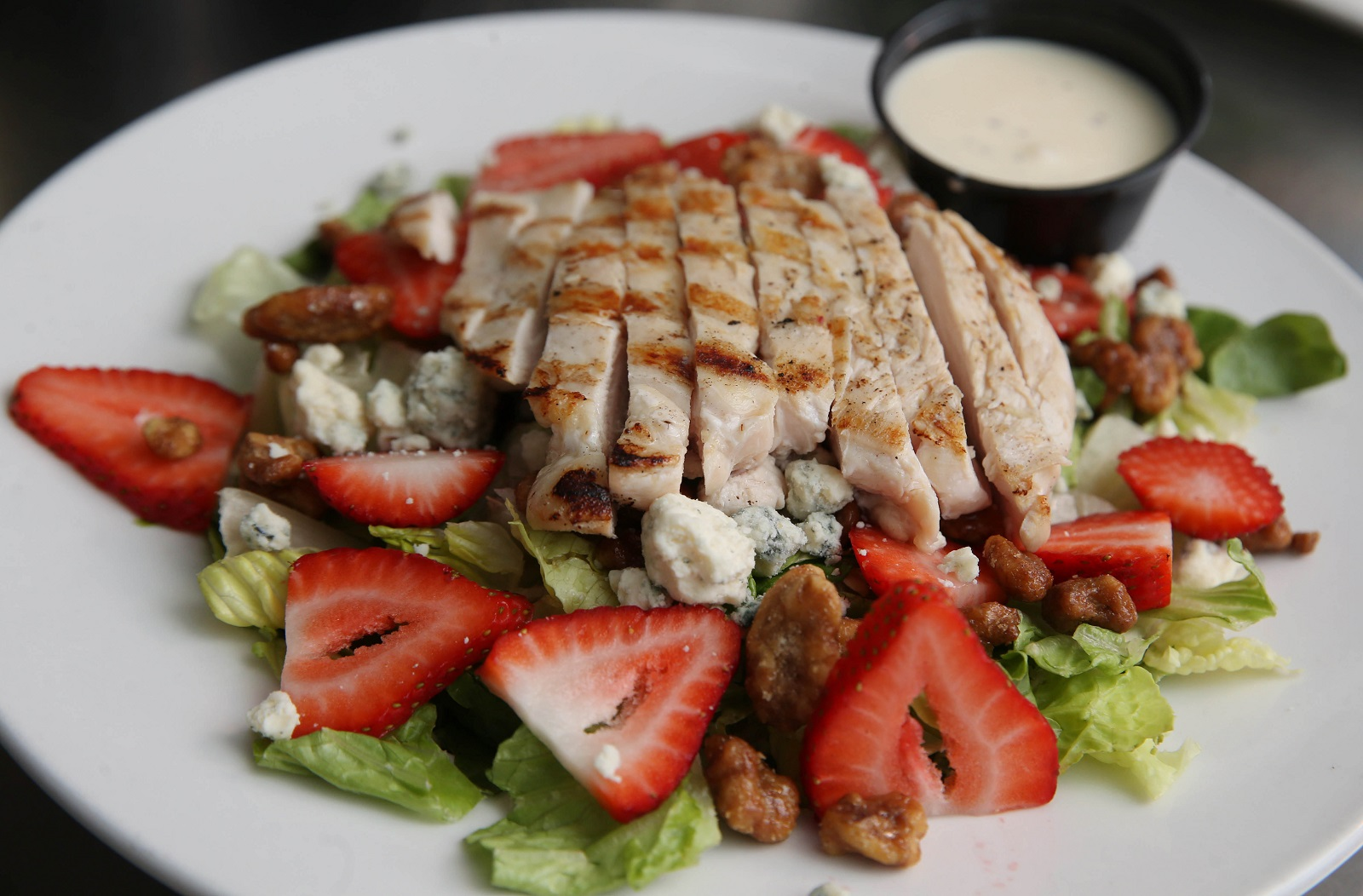 French Pub's grilled chicken salad with strawberries and bleu cheese. (Sharon Cantillon/Buffalo News)