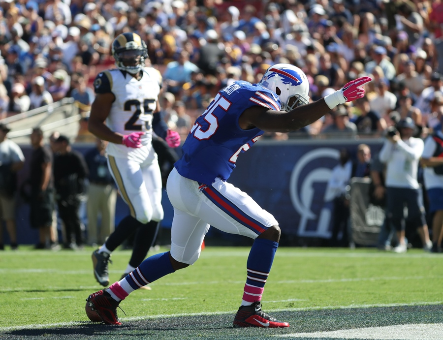 Buffalo Bills running back LeSean McCoy celebrates after a long first-half run. (James P. McCoy/ Buffalo News)