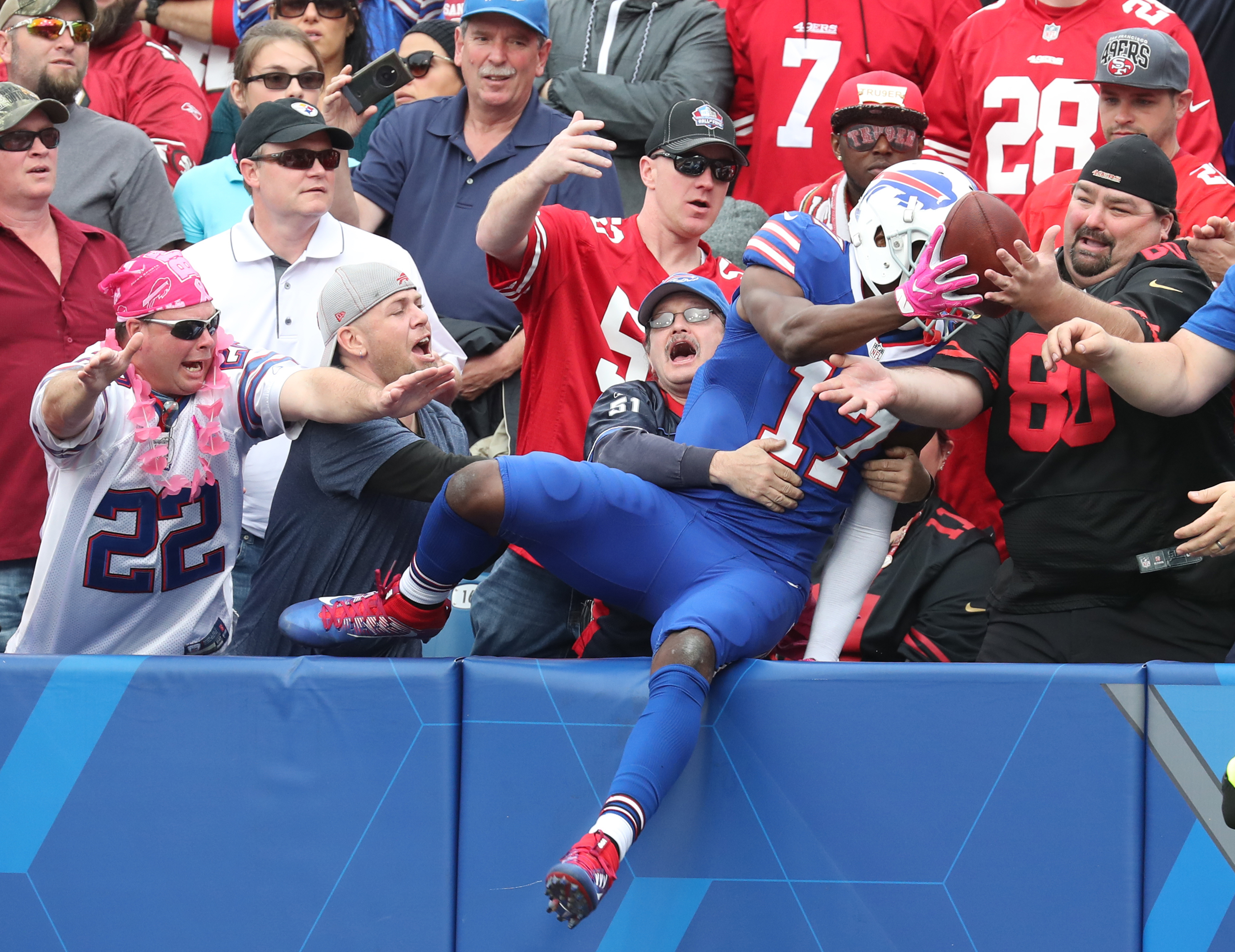 Buffalo Bills wide receiver Justin Hunter celebrates his touchdown catch during the third quarter.  (James P. McCoy/ Buffalo News)