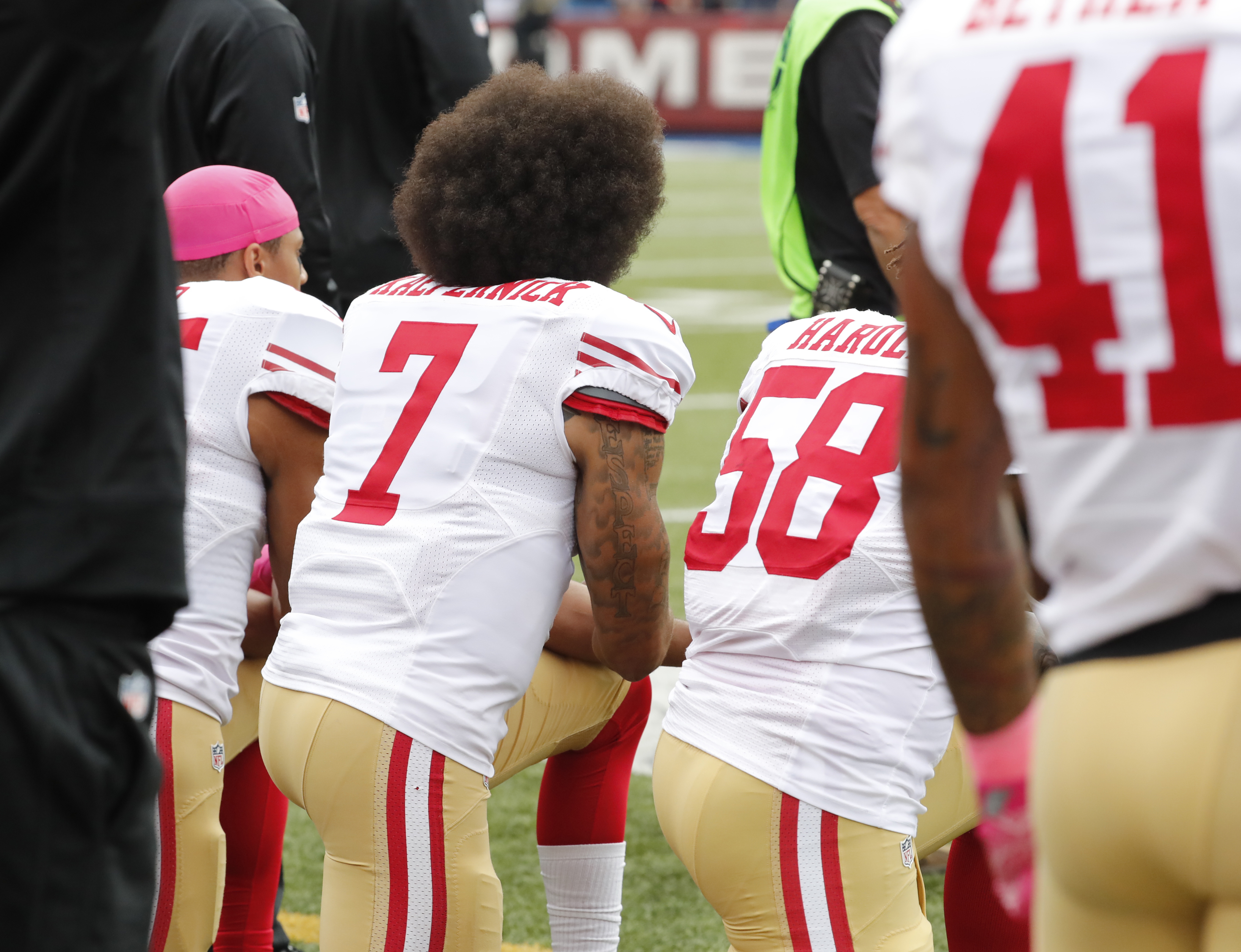 San Francisco 49ers quarterback Colin Kaepernick (7) kneels during the National Anthem before the game against the Bills at New Era Field on Sunday,Oct. 16, 2016.(Harry Scull Jr./Buffalo News)