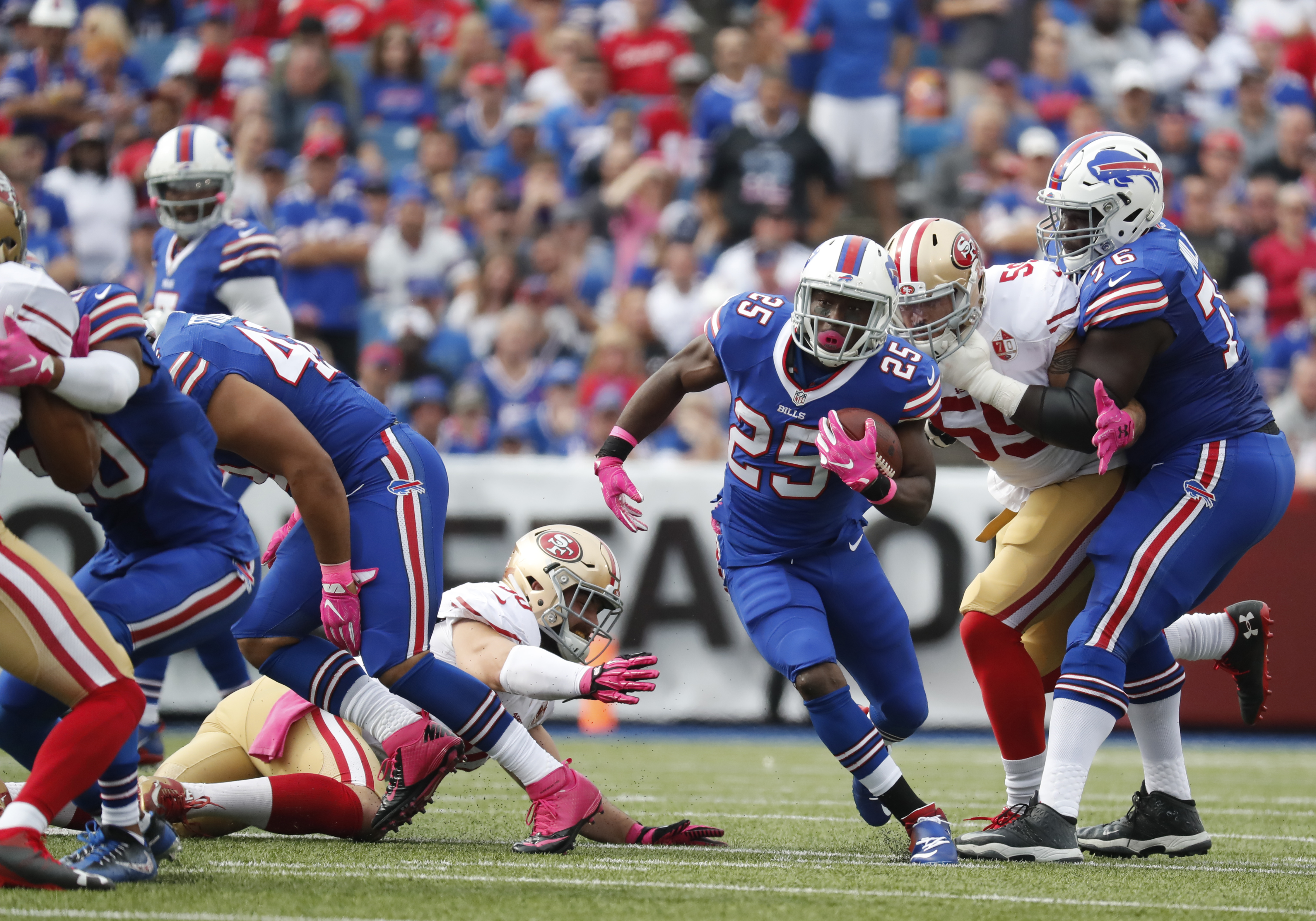 Buffalo Bills running back LeSean McCoy (25) finds a hole against the San Francisco 49ers during the first quarter at New Era Field on Oct. 16.(Harry Scull Jr./Buffalo News)