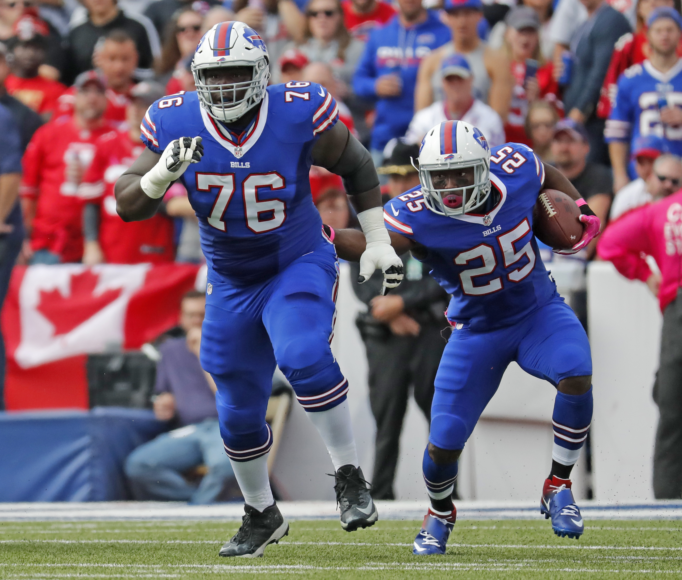Buffalo Bills guard John Miller (76) clears a path for LeSean McCoy during a recent game. Miller will attend a family gathering Saturday in Miami during the one-year anniversary of the death of his mother. (Harry Scull Jr./Buffalo News)