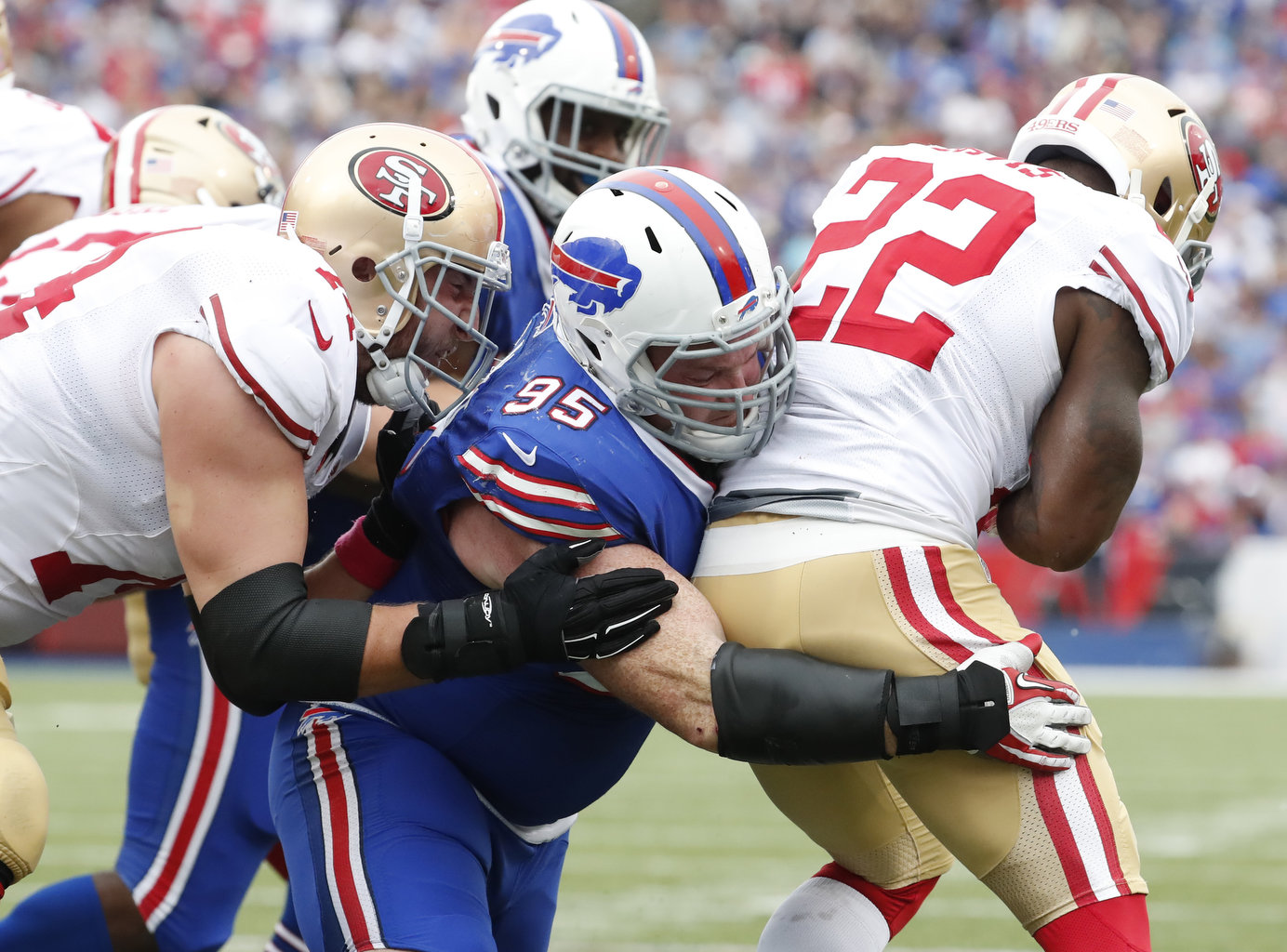 Buffalo Bills Kyle Williams makes a tackle against the San Francisco 49ers during the third quarter at New Era Field on Sunday, Oct. 16, 2016.  (Harry Scull Jr./Buffalo News)