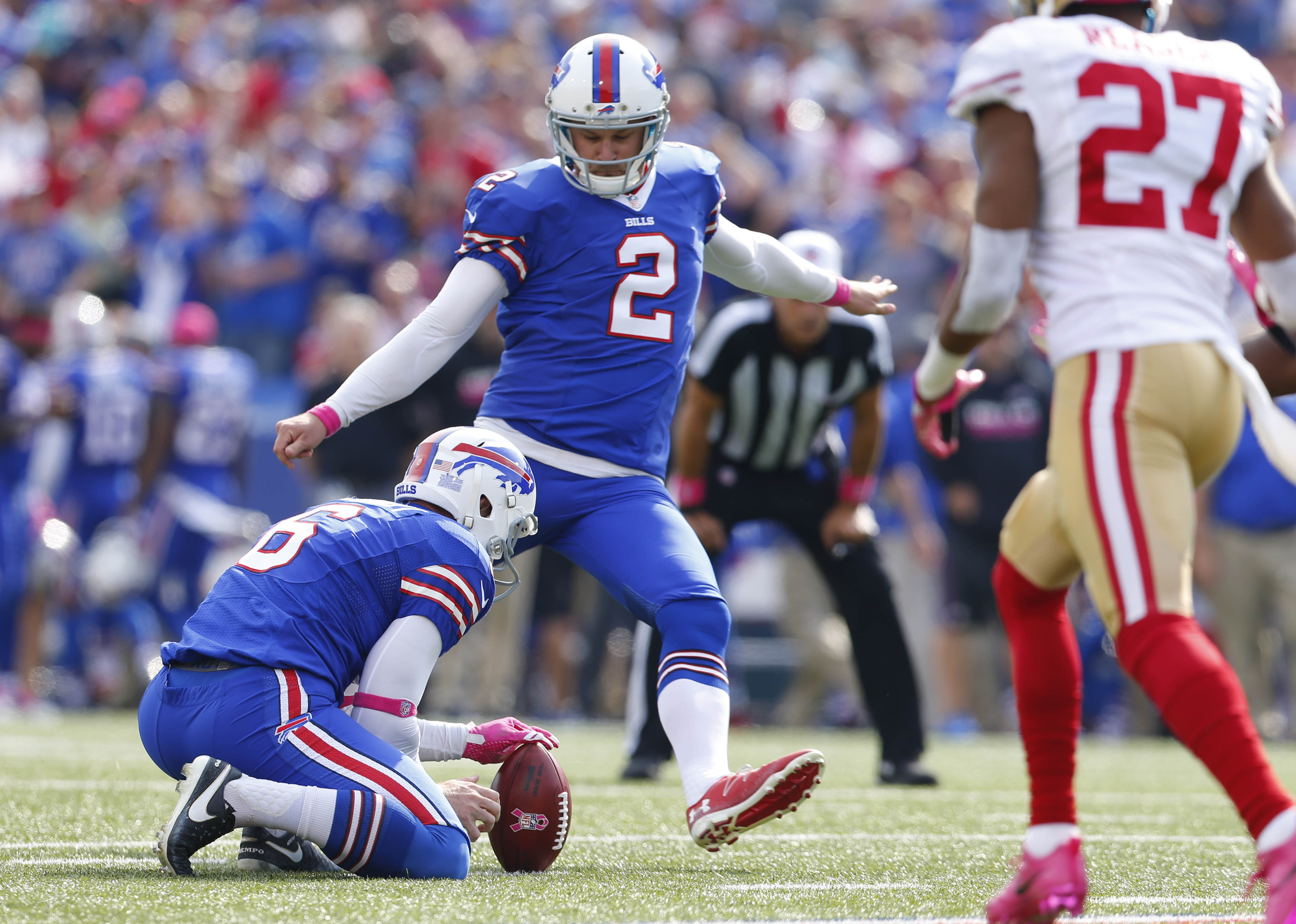 Buffalo Bills kicker Dan Carpenter was perfect on special teams Sunday against the 49ers, part of a dominant performance by the special teams. (Mark Mulville/The Buffalo News)