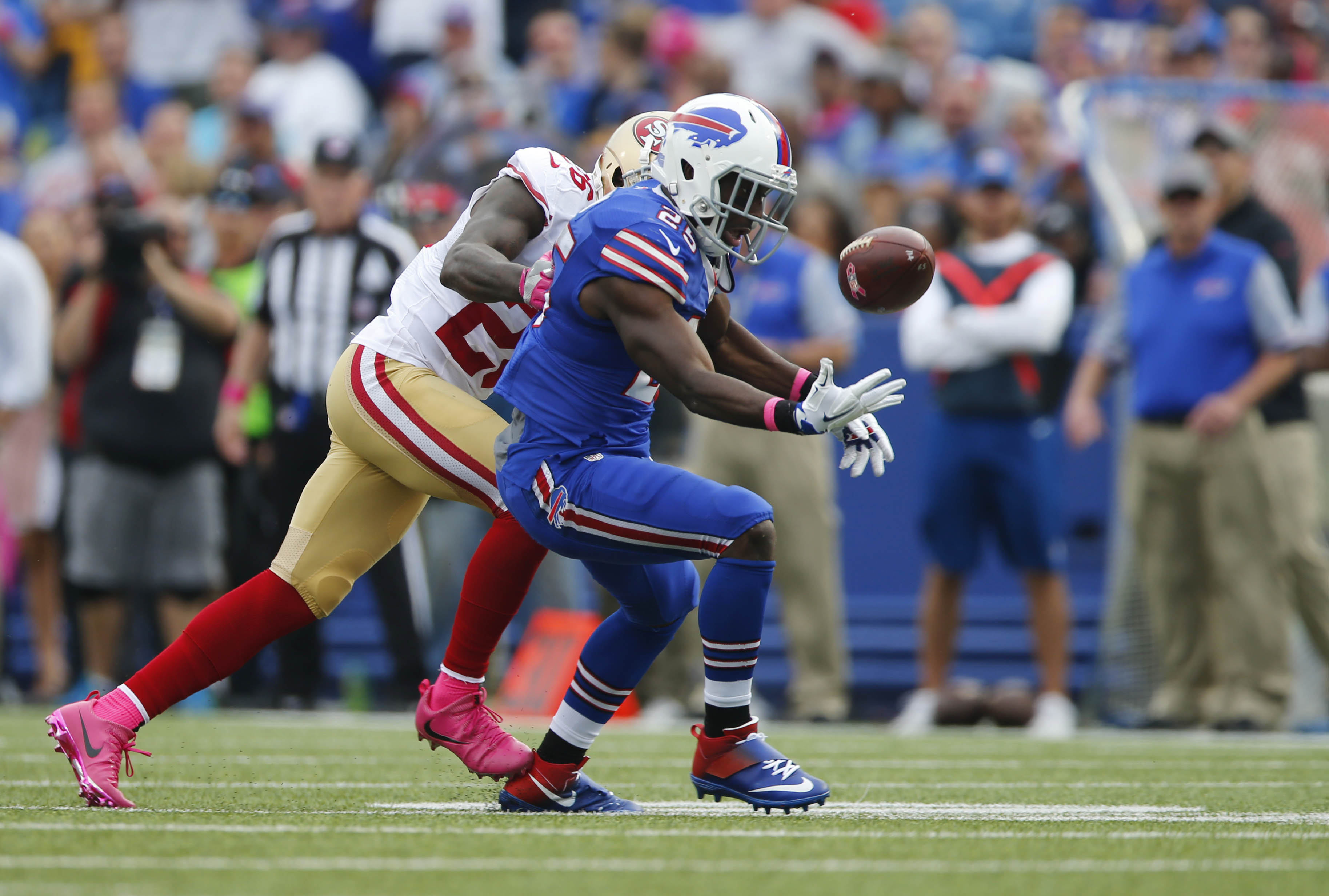 Buffalo Bills running back LeSean McCoy bobbles the ball before recovering on a run against the San Francisco 49ers during the third quarter.   (Mark Mulville/The Buffalo News)