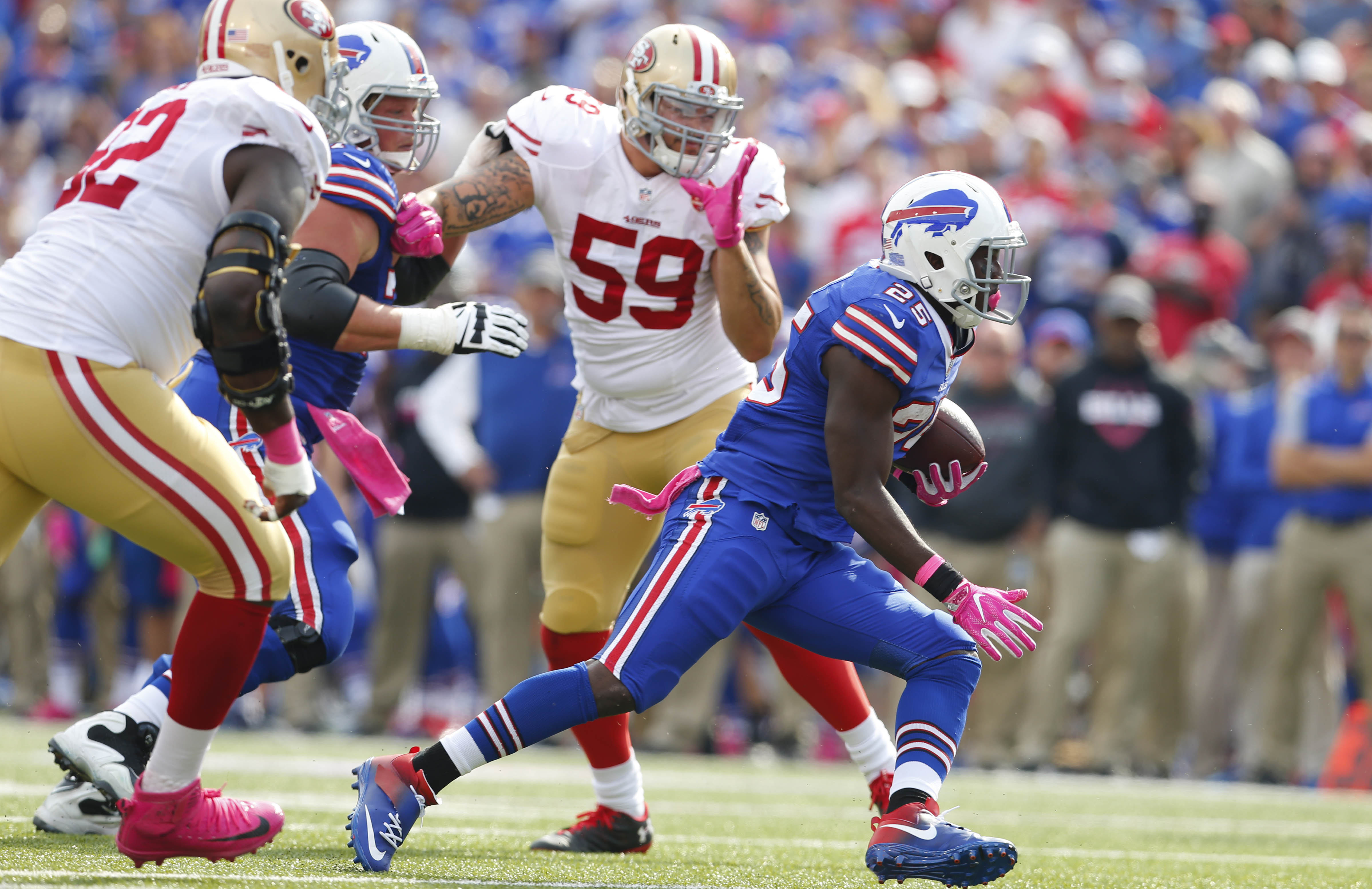 Buffalo Bills running back LeSean McCoy finds a huge hole to run through en route to his second touchdown of the game against the San Francisco 49ers during the second quarter.   (Mark Mulville/The Buffalo News)