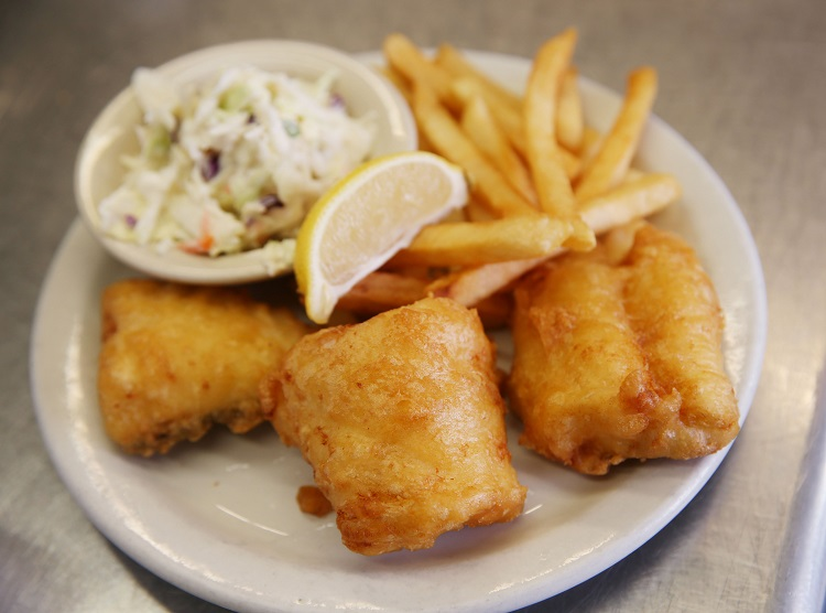 The beer battered fish finger special, available every Friday, is one of the many fish dishes at Edge of Town. (Sharon Cantillon/Buffalo News)