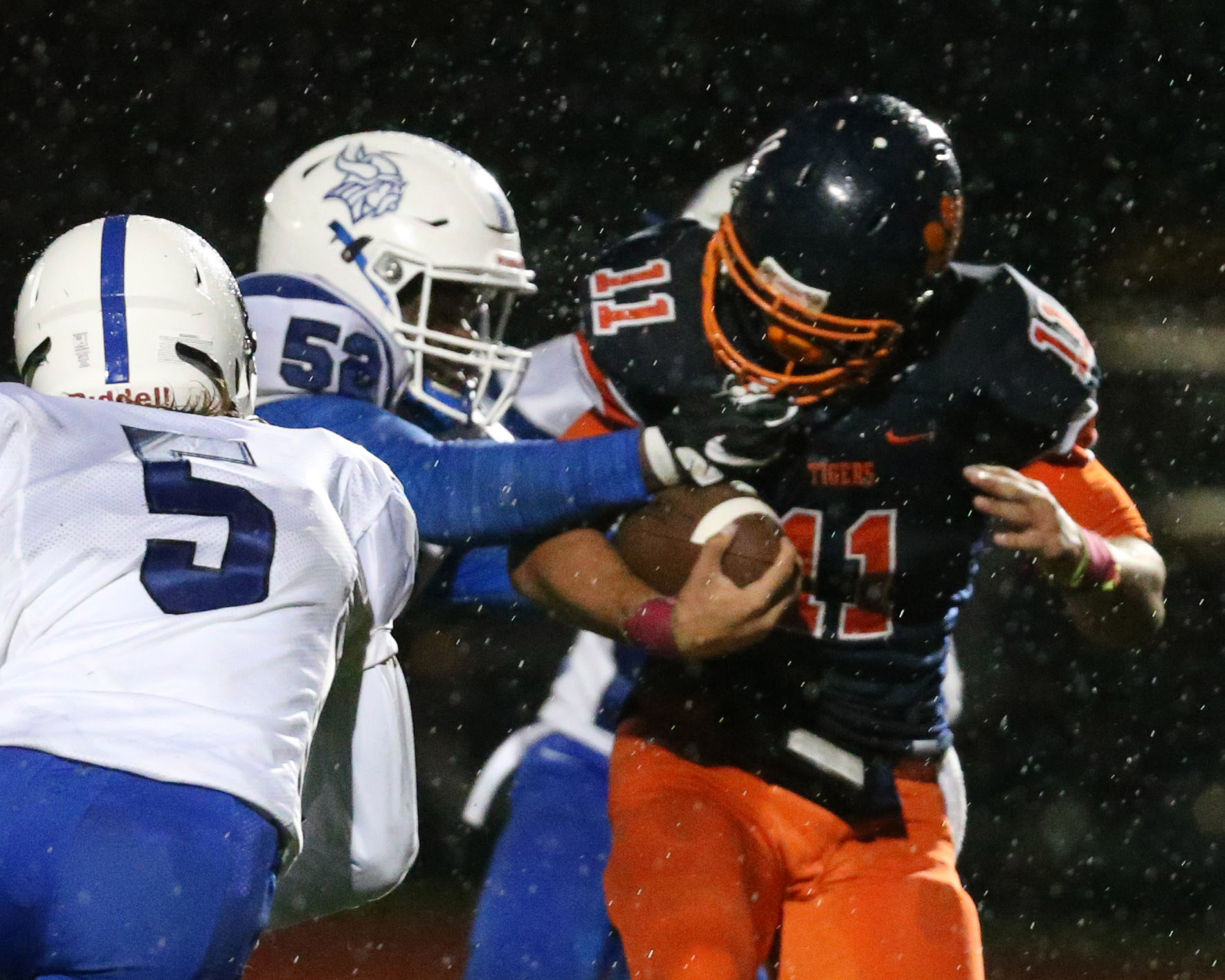 Isaiah McDuffie and the Bennett Tigers pulled away from Grand Island and will face North Tonawanda in the Class A semifinals Friday night at All High Stadium. (James P. McCoy/Buffalo News)