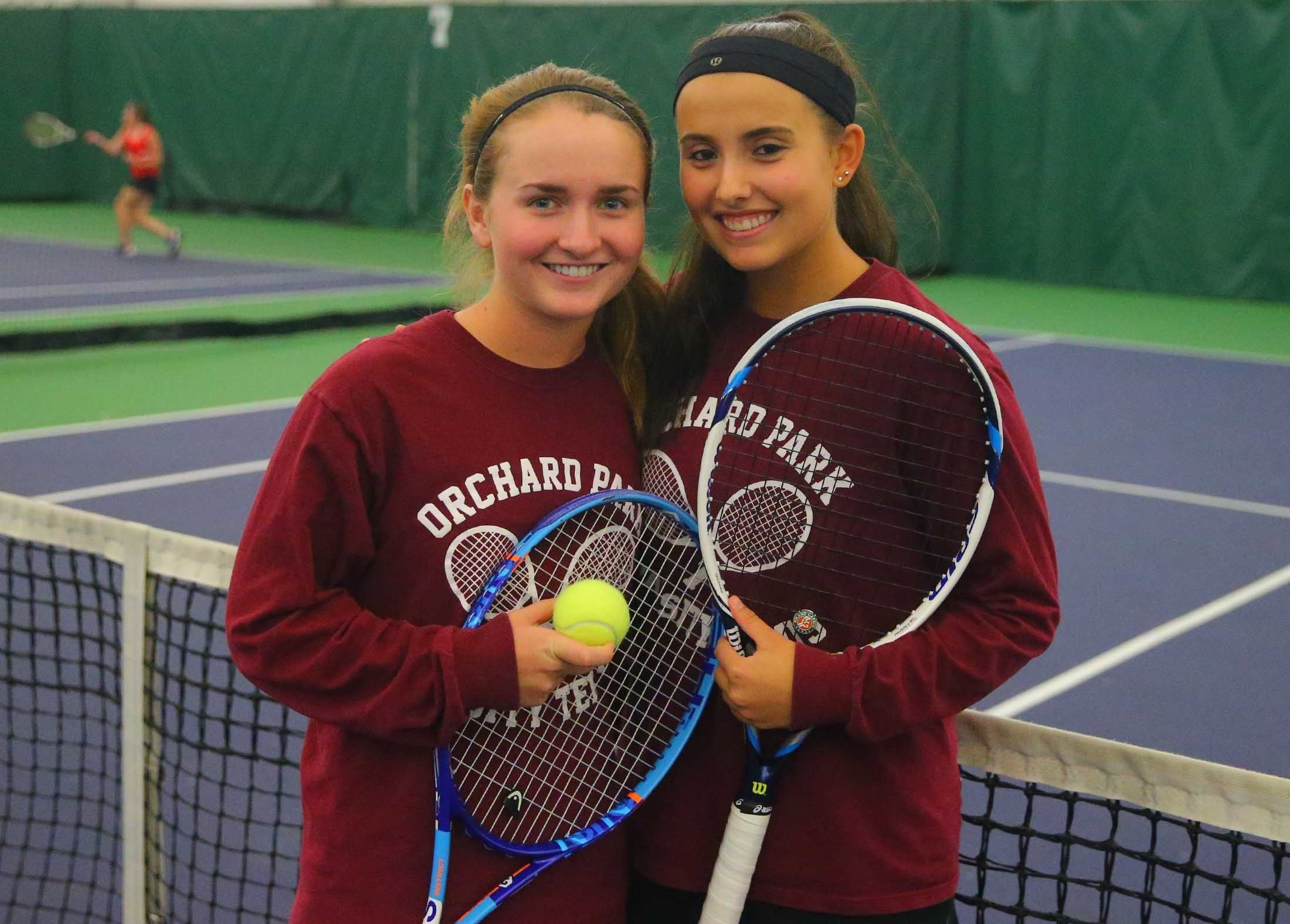 Orchard Park's Kristen Zabionski, left, and Lauren Karogian won the Section VI doubles championship at the Miller Tennis Center (John Hickey/Buffalo News)