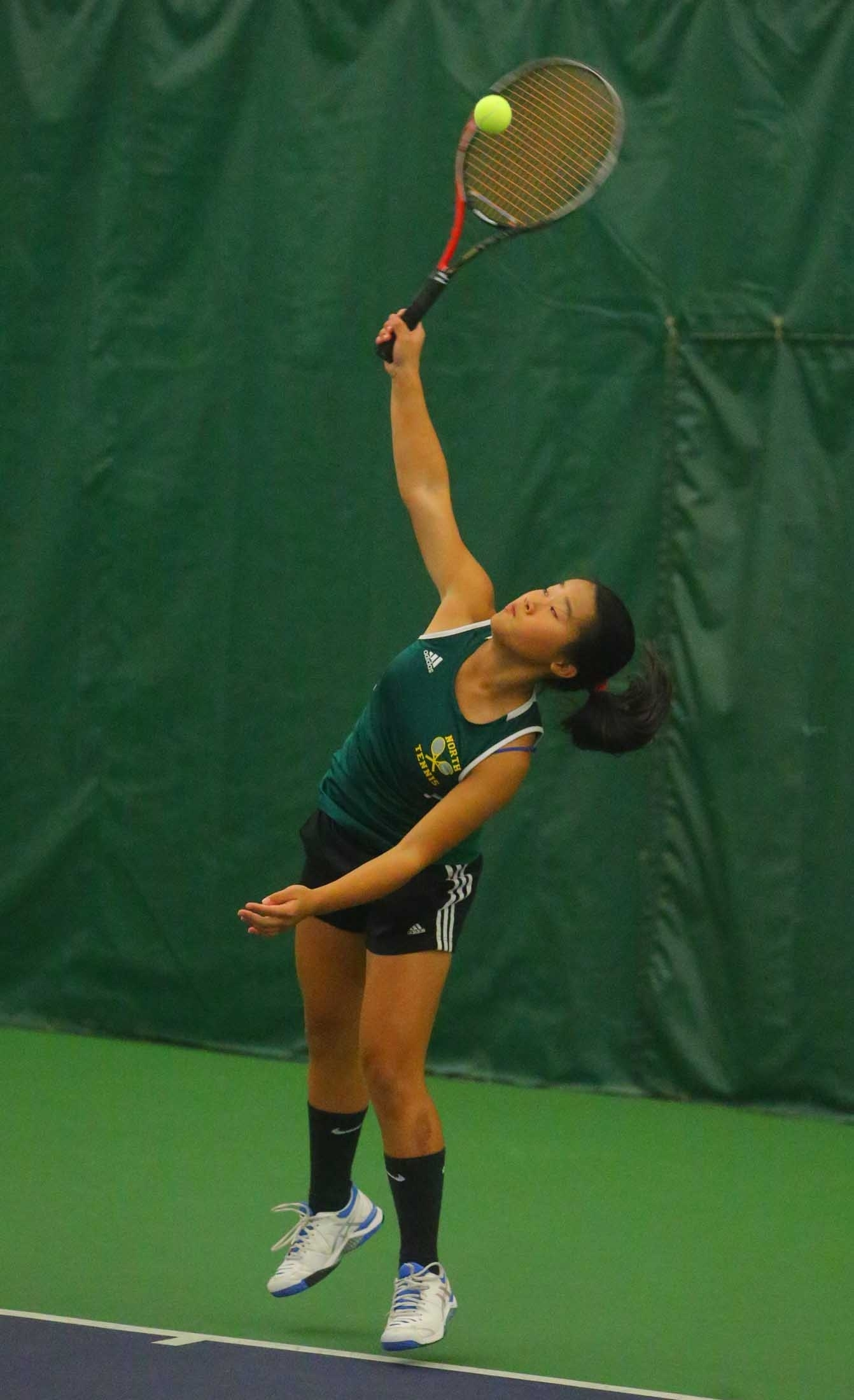 Section VI girls tennis semi singles finalist Eileen Wang, Williamsville North at Miller Tennis Center, in Amherst, N.Y. on Saturday Oct. 22, 2016. (John Hickey/Buffalo News)