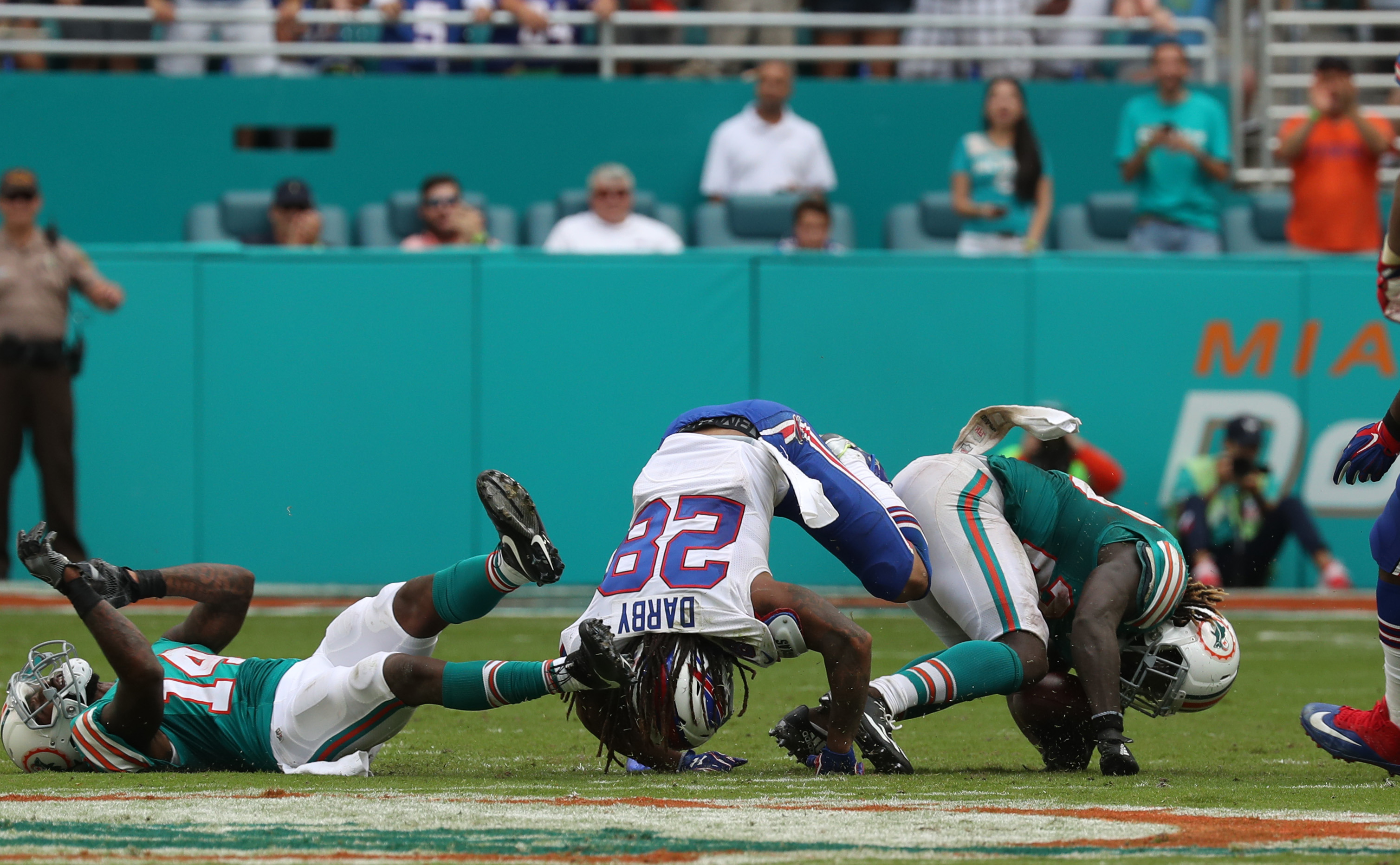 Miami Dolphins running back Jay Ajayi (23) beats the Bills for a long gain in the fourth quarter.  (James P. McCoy/Buffalo News)