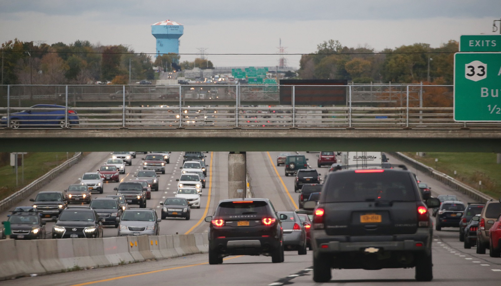 Do you see a lot of brake lights ahead of you as you approach where the I-90 hits the I-290? It's how the Big Blue Water Tower has gotten its unfortunate negative connotation. (Sharon Cantillon/Buffalo News)
