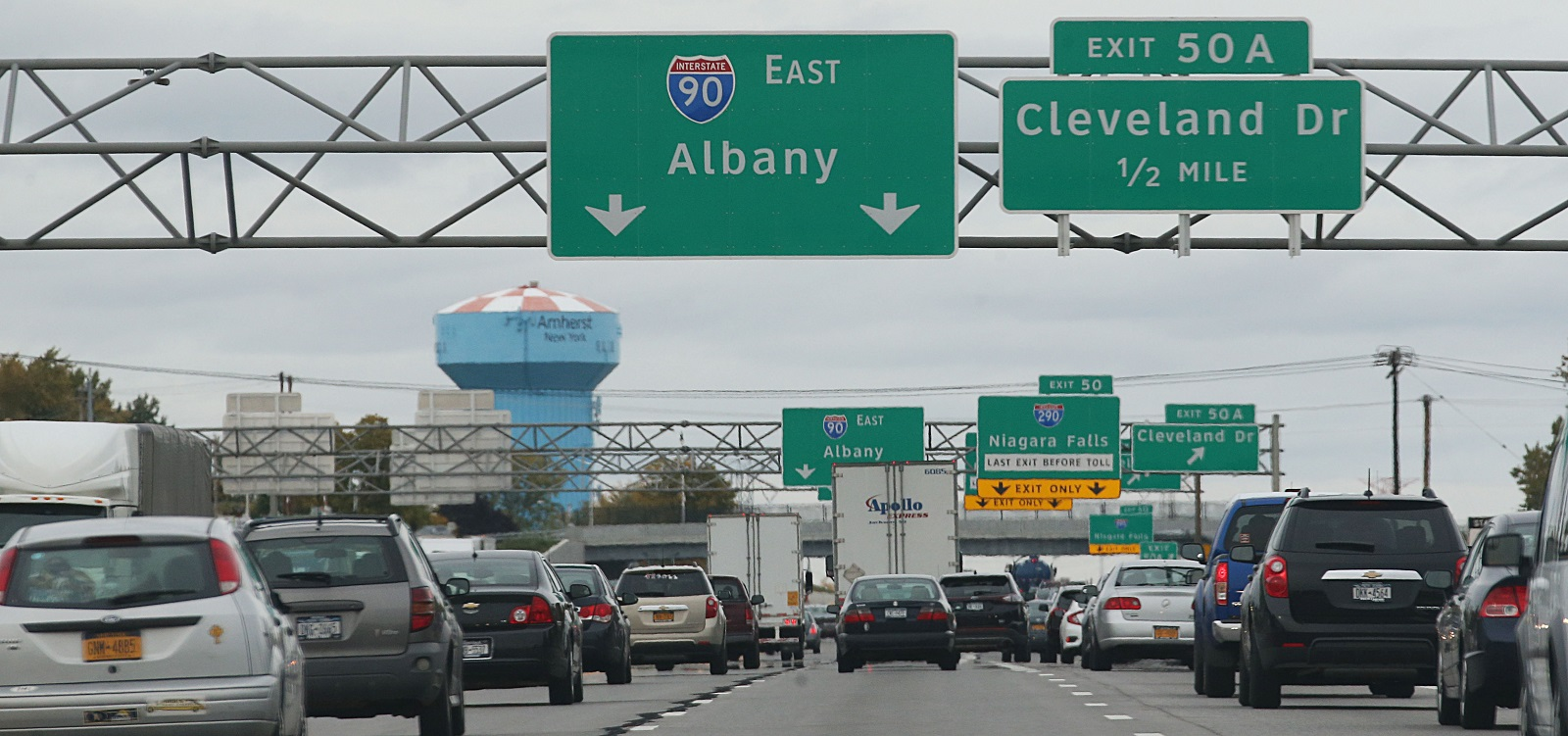 The Town of Amherst blue water tower is ever visible during rush hour traffic at the interchange highways I-90, I-290 and NY33, Wednesday, Oct. 26, 2016.  Traffic moves eastbound on the I-90. (Sharon Cantillon/Buffalo News)