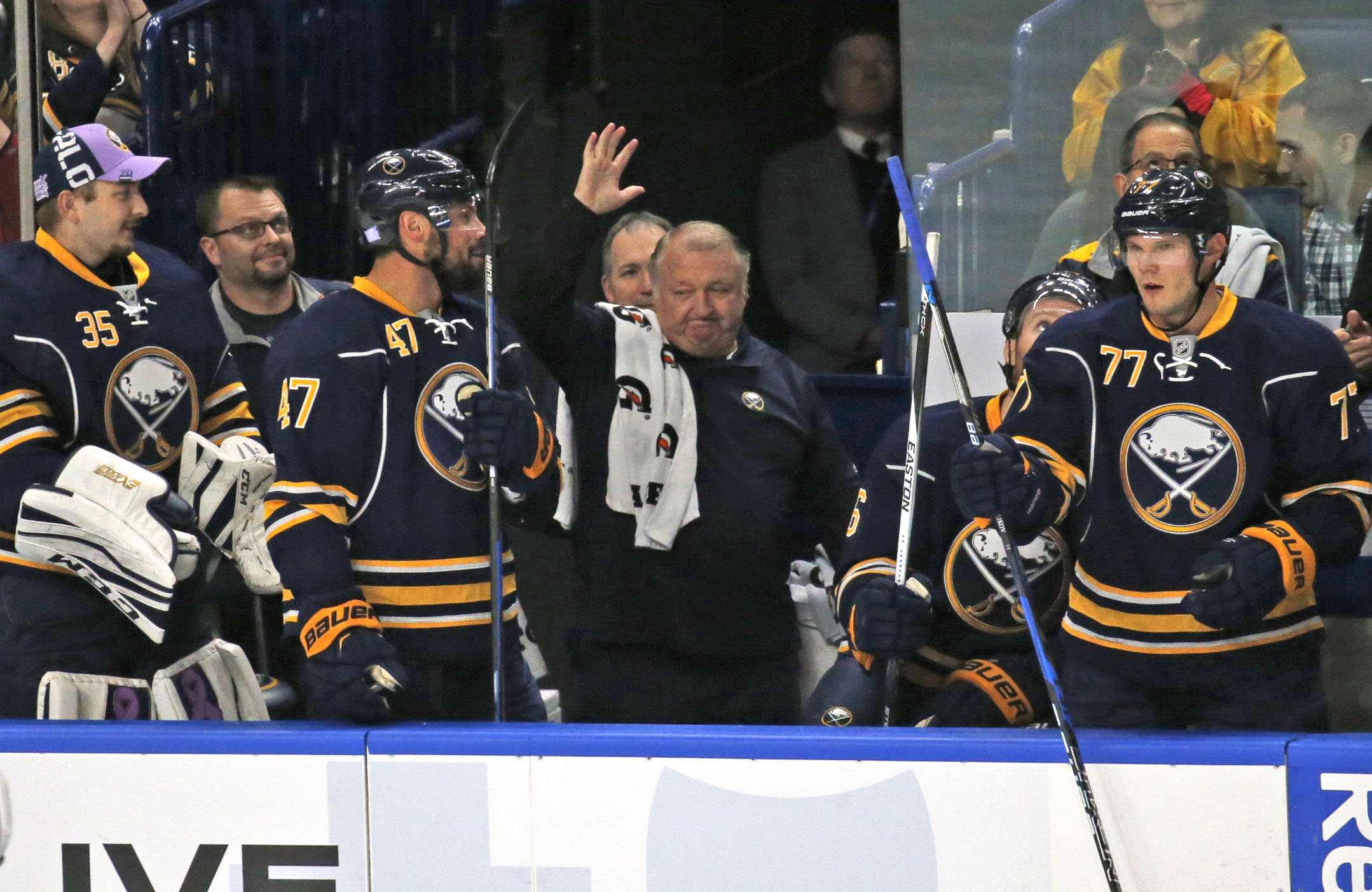 The Sabres honored equipment manager Rip Simonick for working 3,500 NHL games.  (Robert Kirkham/Buffalo News)