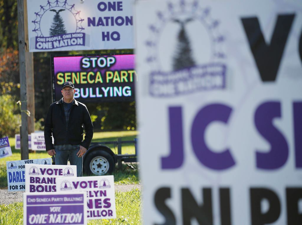 J.C. Seneca is running for president of the Seneca Nation against the powerful Seneca Party, which he left to form a new party, One Nation, in 2014, outside of his campaign office, Friday, Oct. 28, 2016. (Derek Gee/Buffalo News)