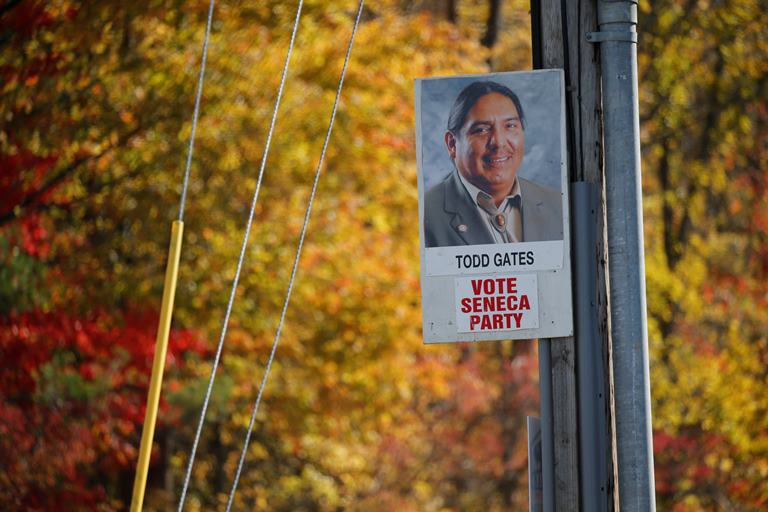 A campaign sign for Todd Gates who is running for Seneca Nation President for the Seneca Party. (Derek Gee/Buffalo News)