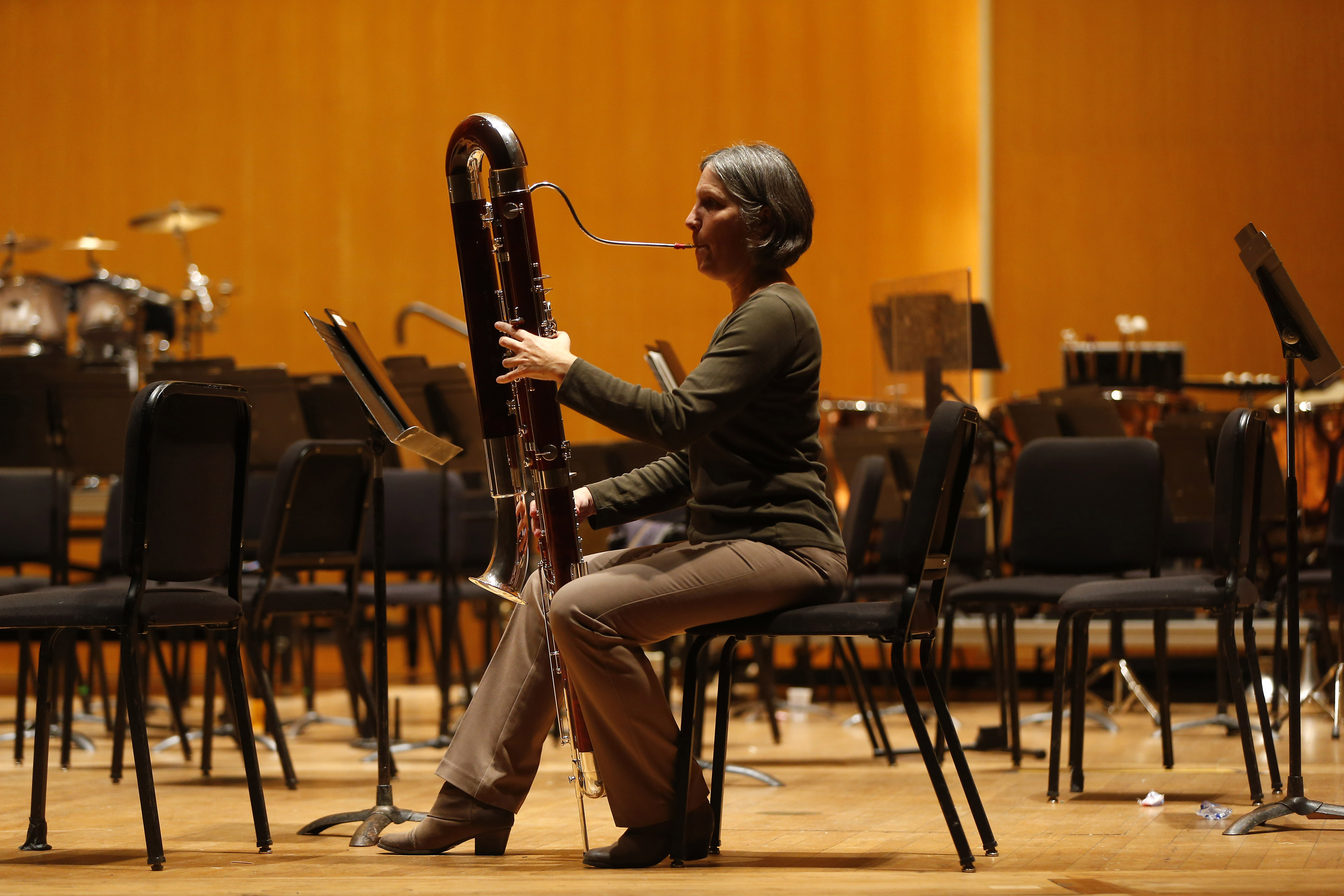 BPO contrabassoonist Martha Malkiewicz holds her new instrument made in Germany by Mollenhauer-Lindsay at Kleinhans in Buffalo on Saturday, Oct. 30, 2016. (Mark Mulville/Buffalo News)