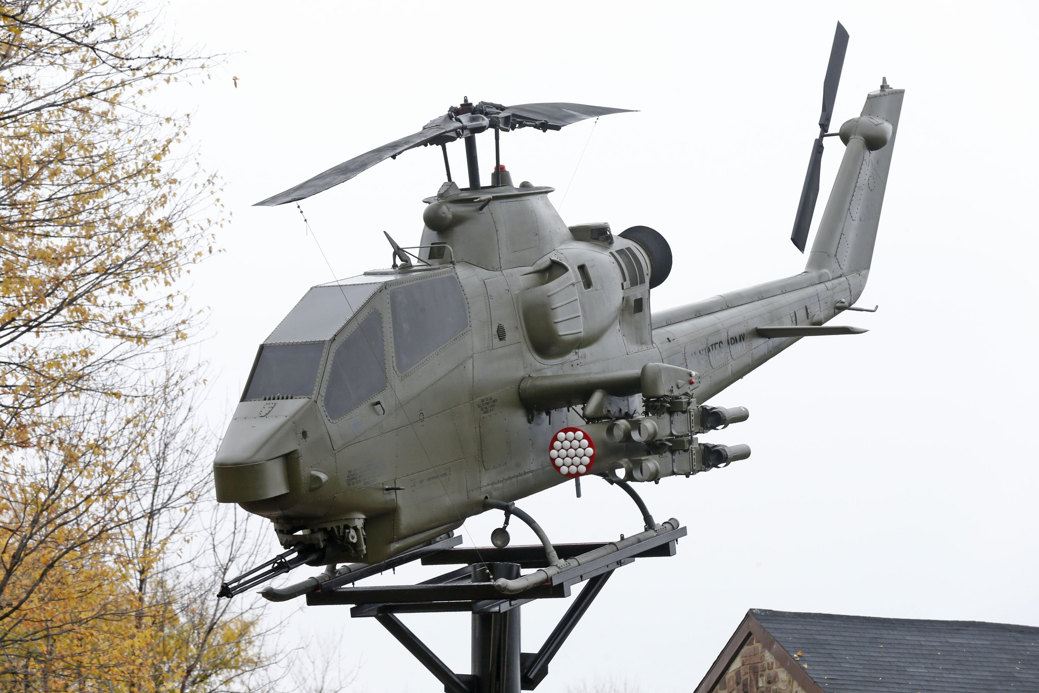 The Cobra attack helicopter was placed in late October on a pedestal in Veterans Park in the City of Tonawanda. Photo by Robert Kirkham / Buffalo News