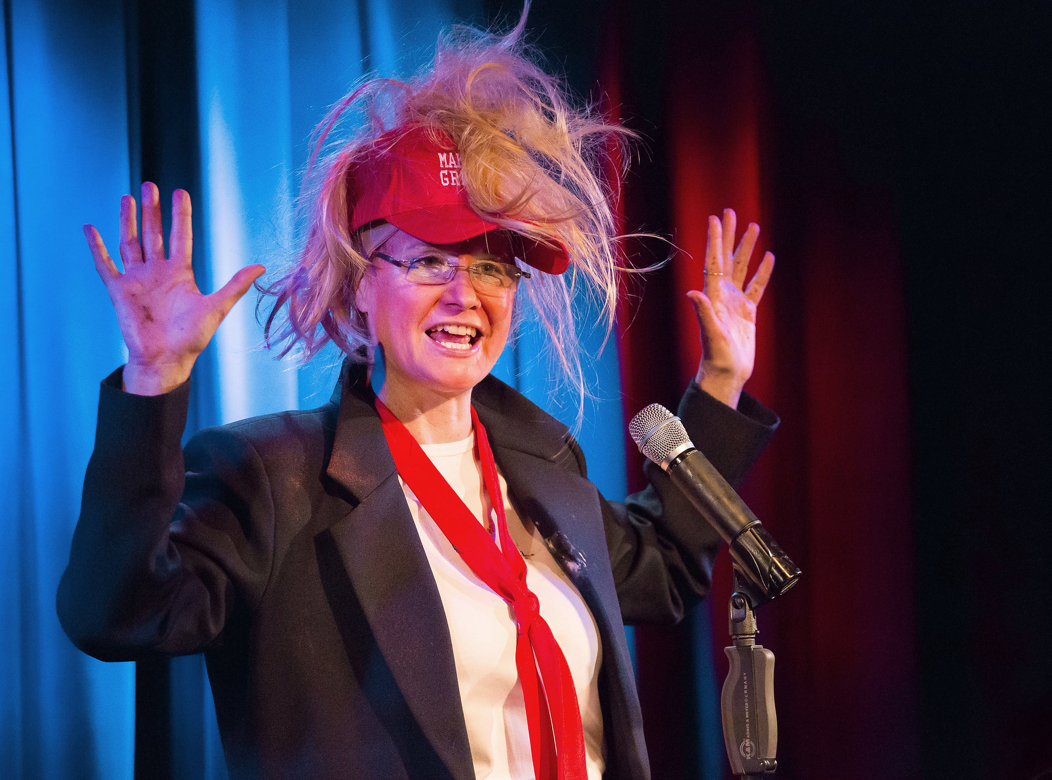 Karen Finley performs as Donald J. Trump in 'Unicorn Gratitude Mystery' on Oct. 14 and 15 in Hallwalls Contemporary Arts Center. Photo by Hunter Canning.