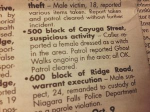 Police call for a suspicious witch