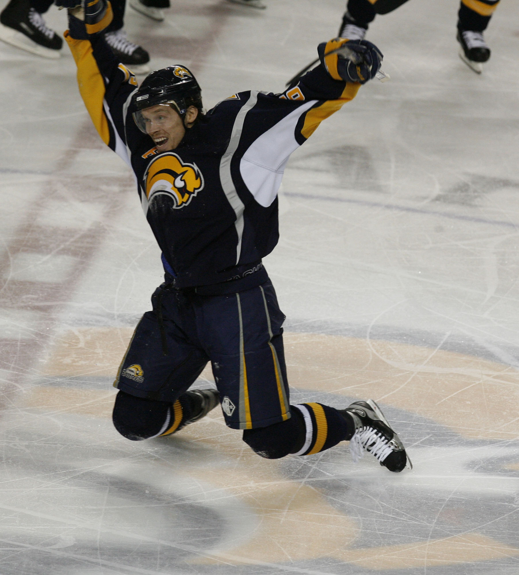 SPORTS Sabres---- Buffalo Sabres Maxim Afinogenov (61) react to his goal against New York Rangers in 1st Overtime period action of Game 5 of the Eastern Conference Semi finals at HSBC Arena in Buffalo , NY on Friday May 4, 2007. Photo by John Hickey