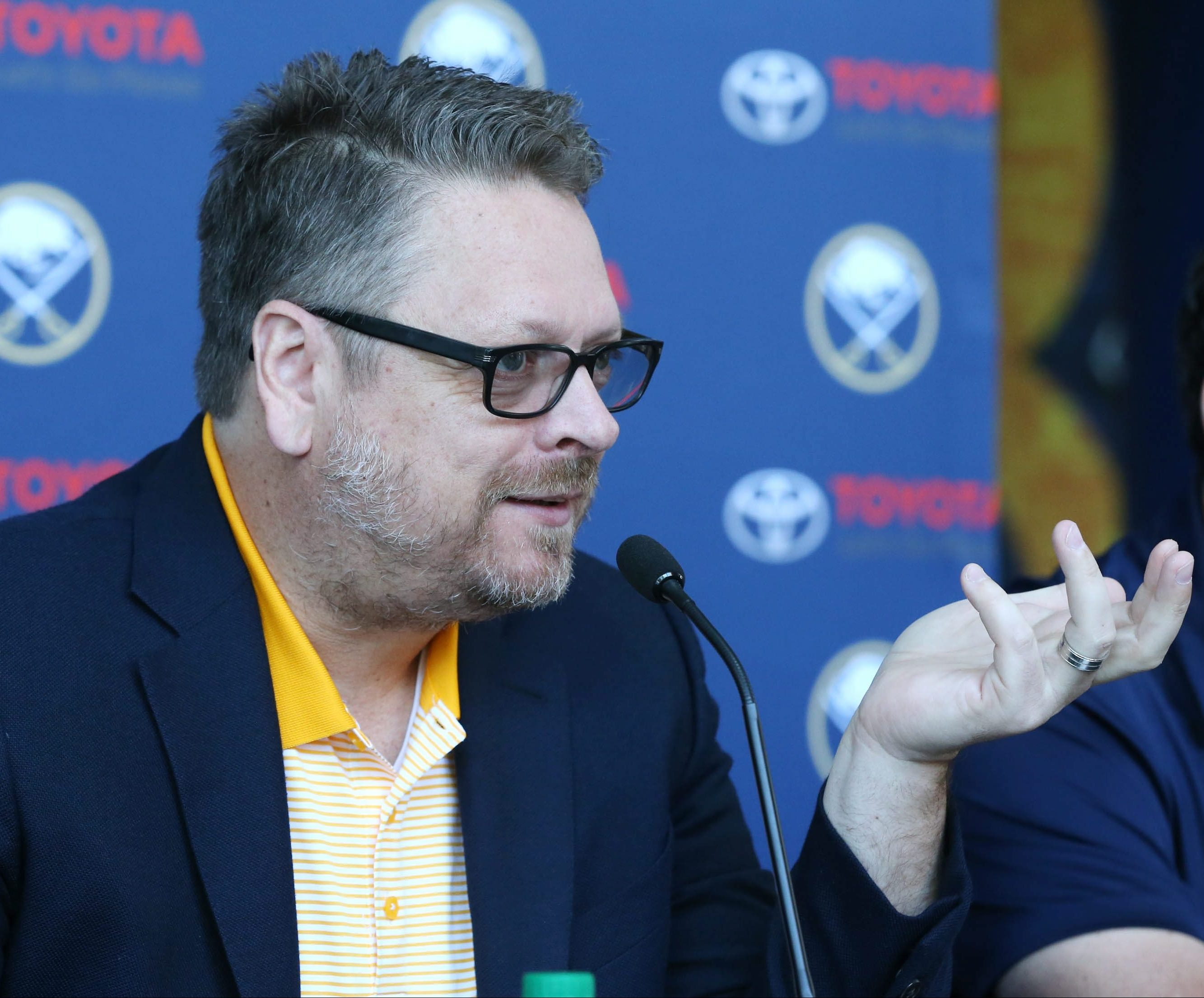 Tim Murray has a new contract but a ton of injuries to deal with (James P. McCoy/Buffalo News file photo)