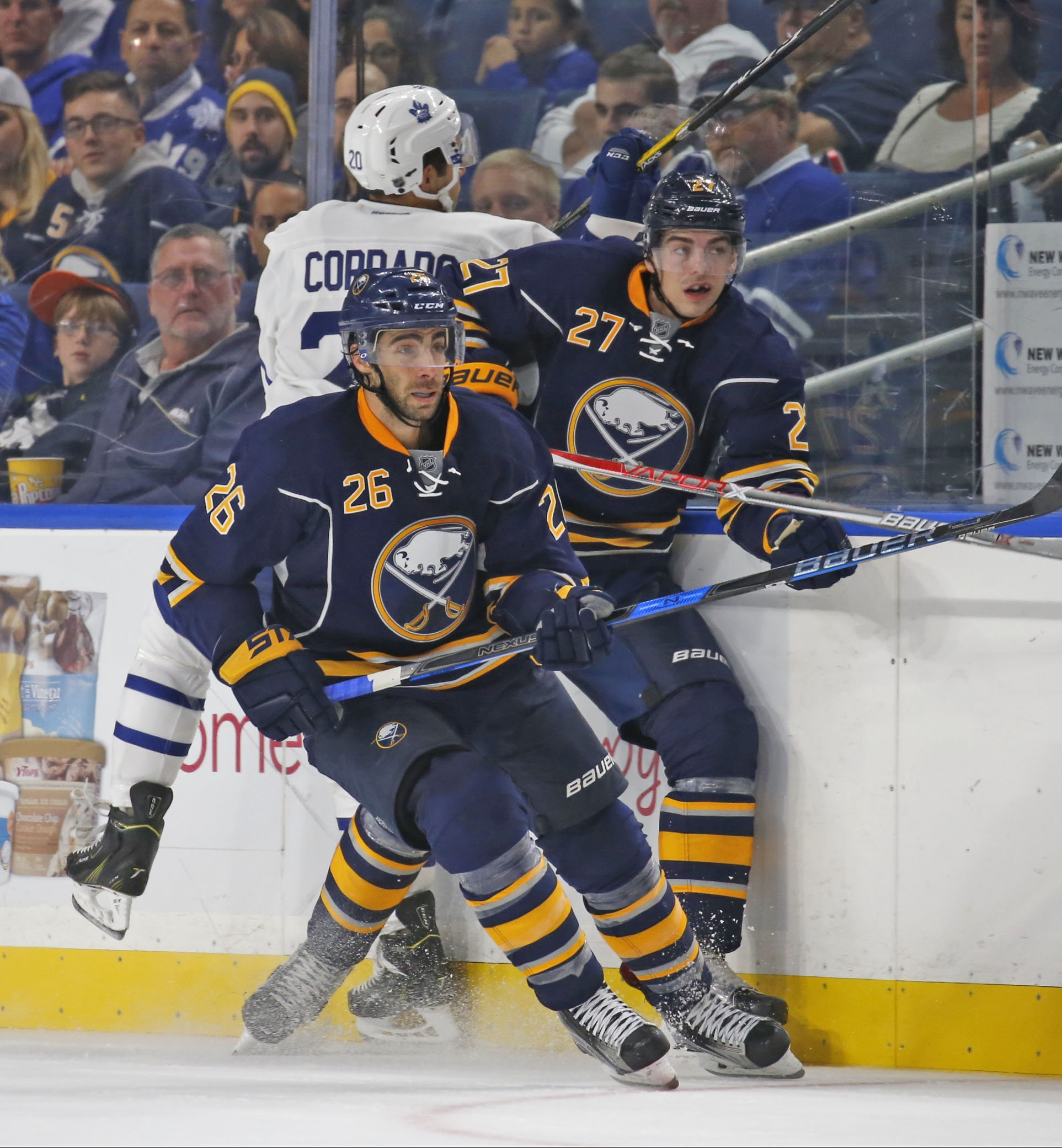 Matt Moulson (26) and Derek Grant are skating on the same line for the Sabres.