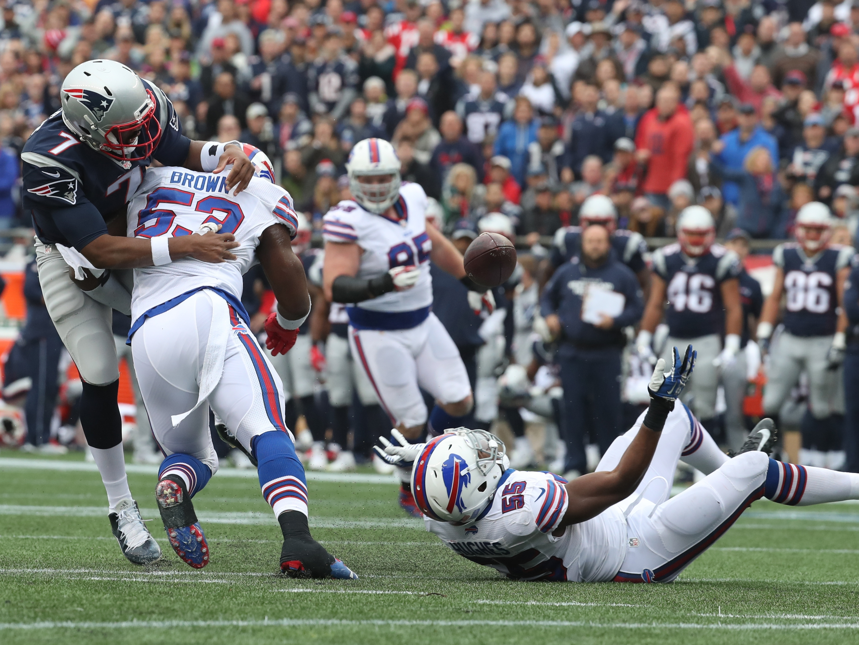 Buffalo Bills inside linebacker Zach Brown, signed as a free agent by Doug Whaley, had a tremendous game against the Patriots, including this forced fumble.